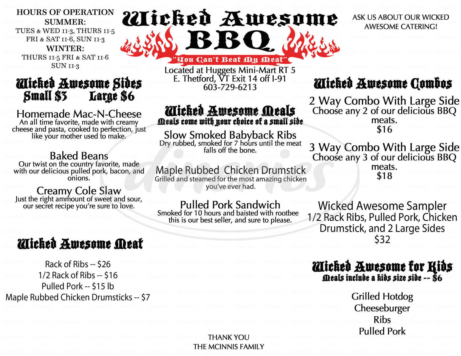 menu for Wicked Awesome BBQ