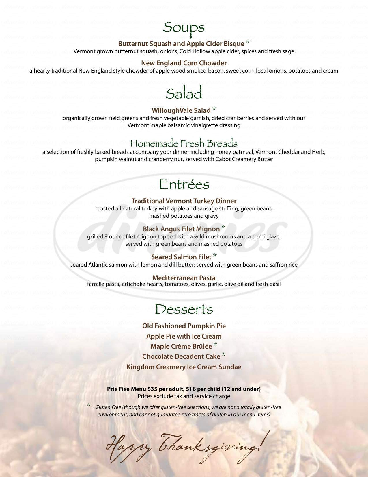 menu for Willoughvale Inn & Restaurant