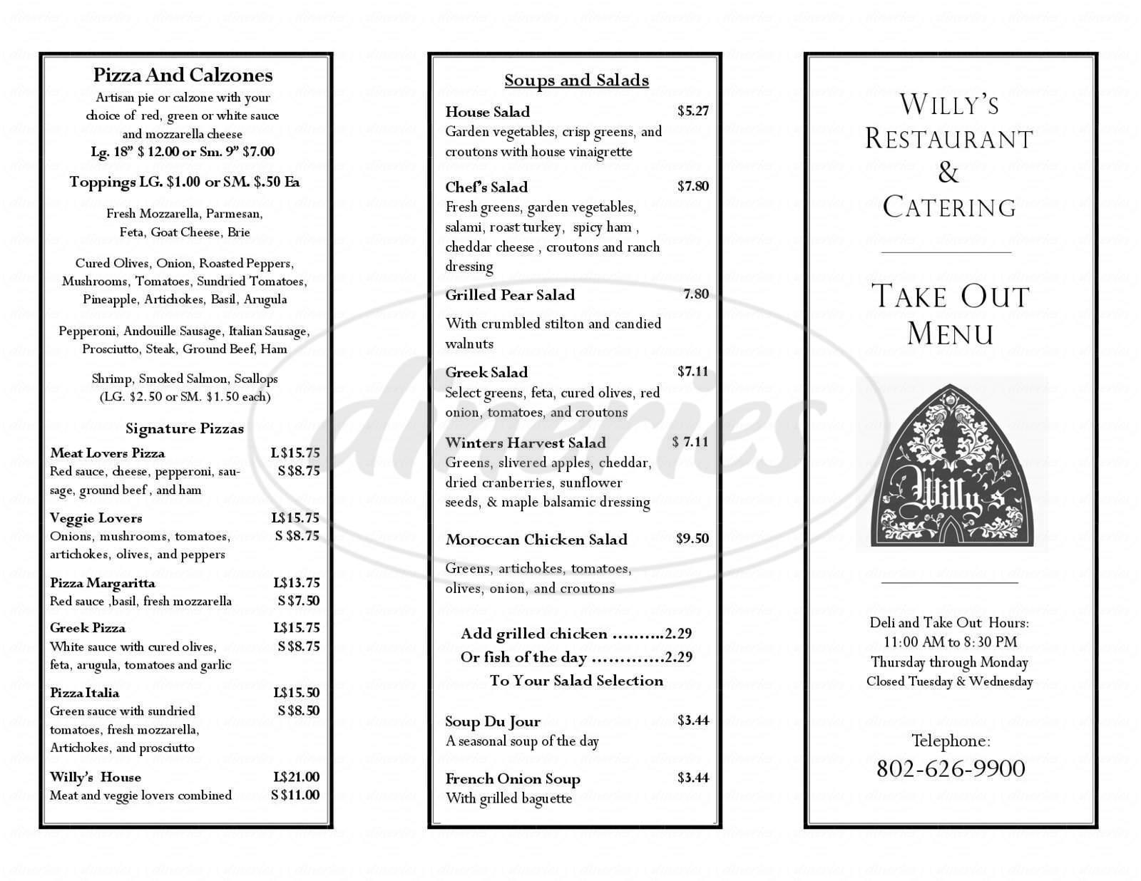 menu for Willy's Restaraunt & Catering