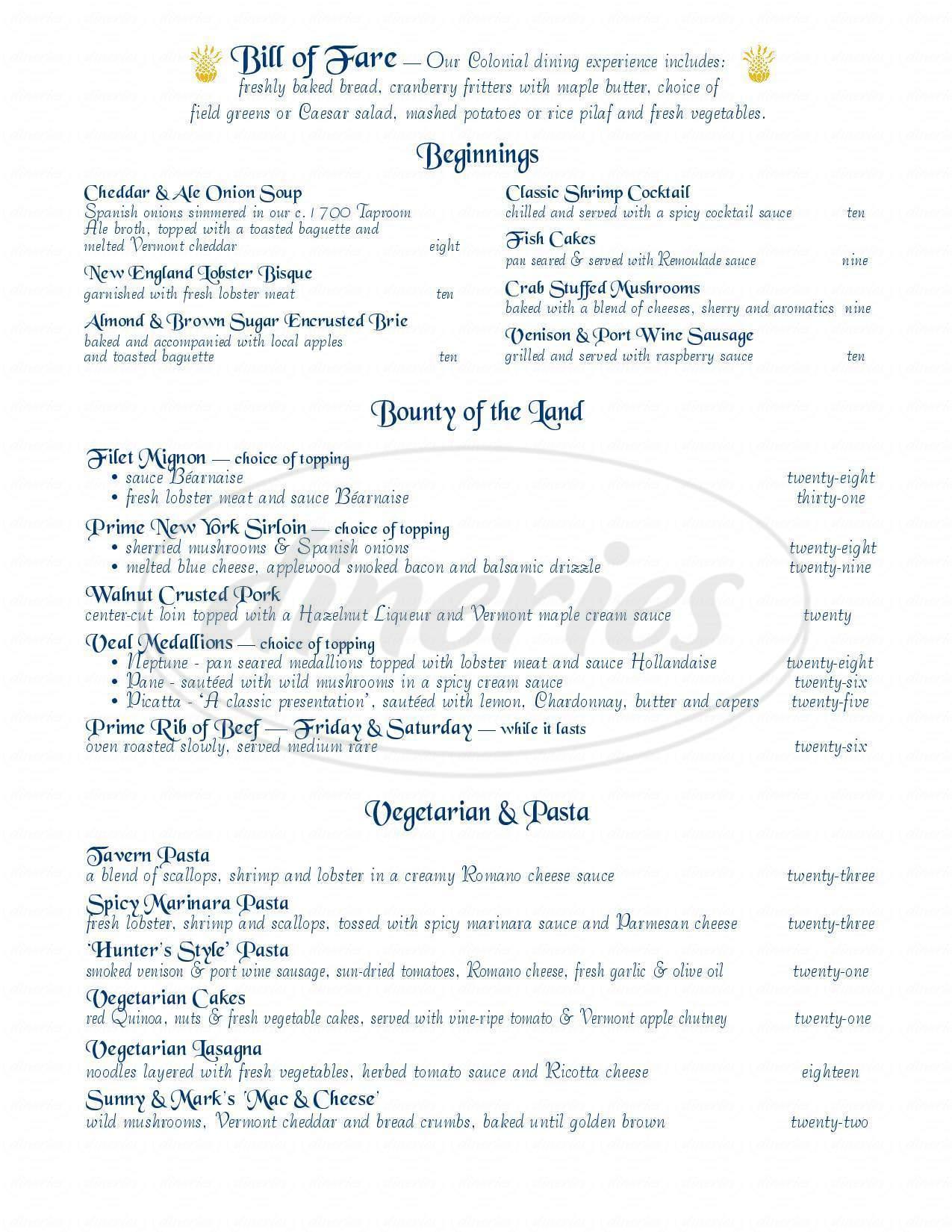 menu for Ye Olde Tavern