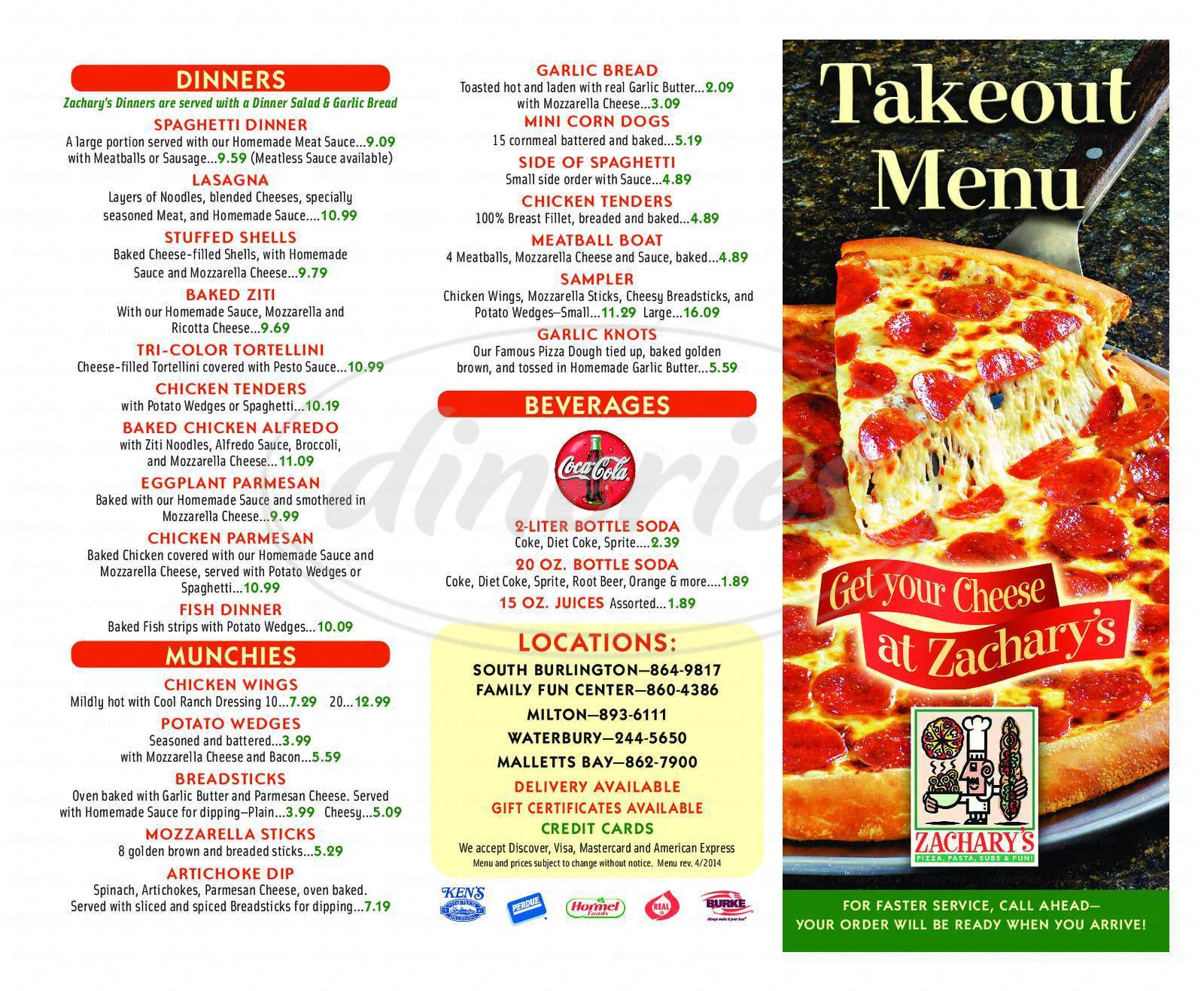 menu for Zachary's Pizza-S Burlington