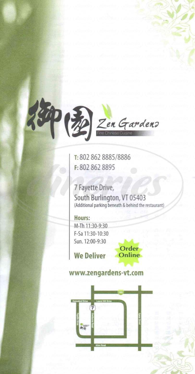 menu for Zen Gardens