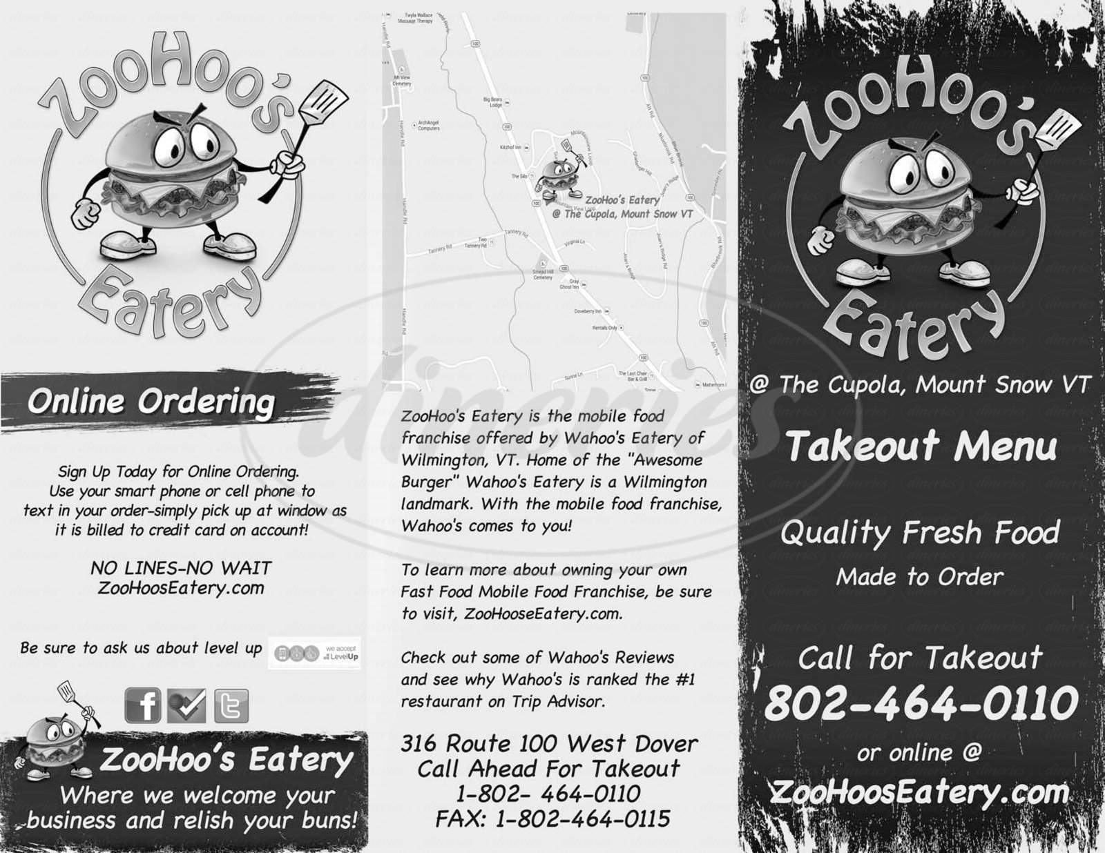 menu for ZooHoo's Eatery