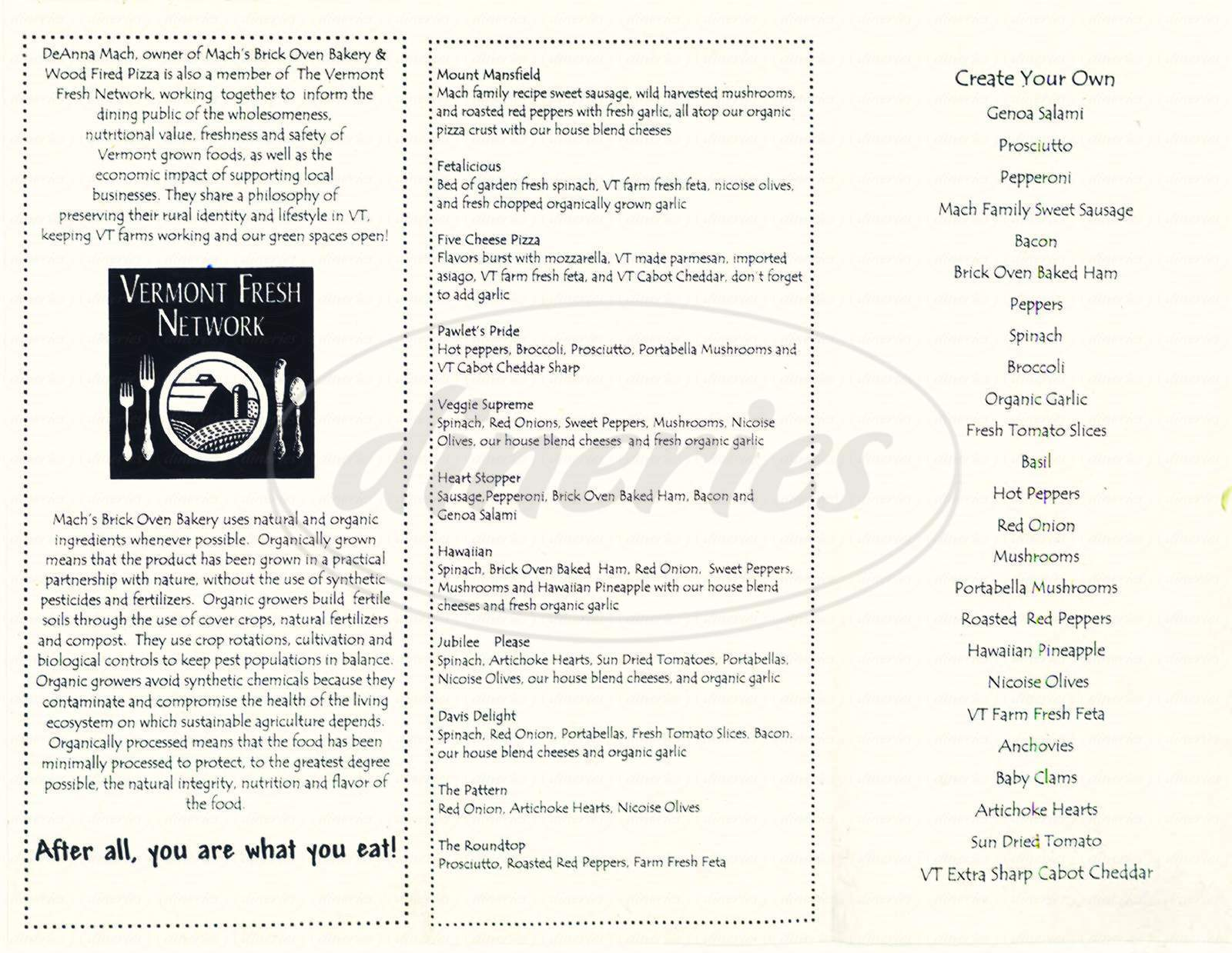 menu for Mach's Brick Oven Bakery & Wood Fired Pizza