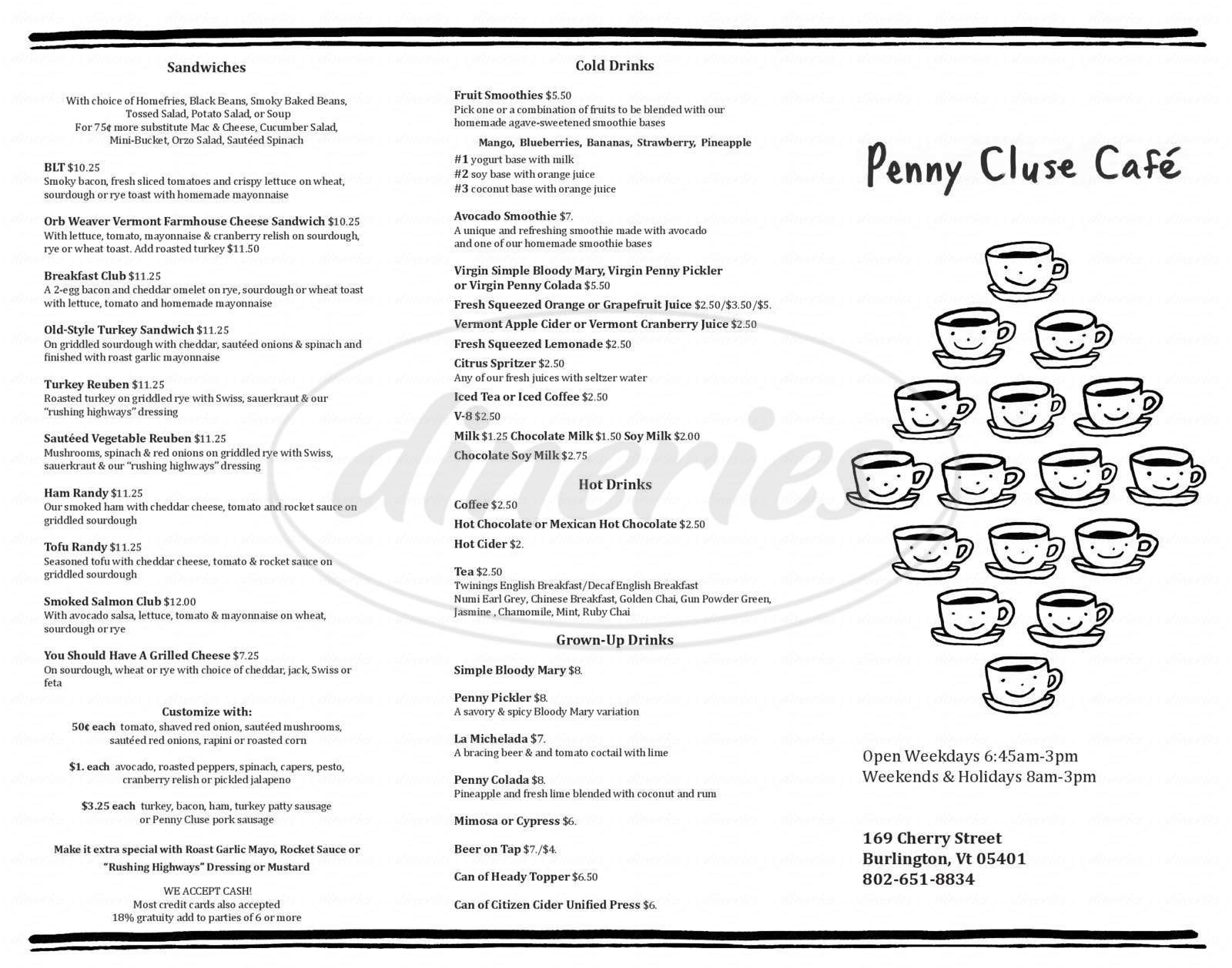 menu for Penny Cluse Cafe