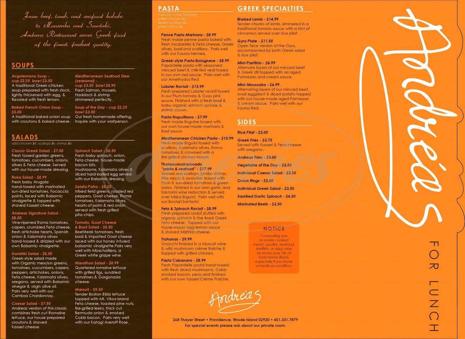 menu for Andreas Restaurant