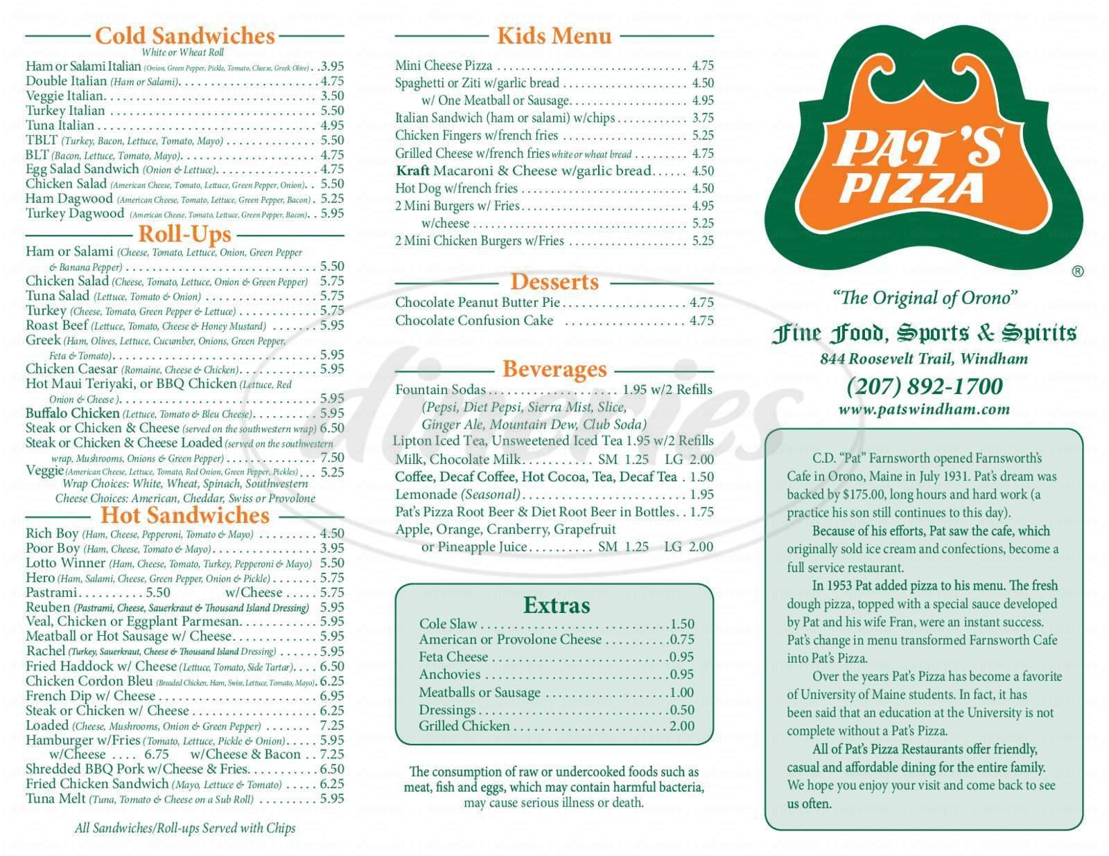 menu for Pat's Pizza