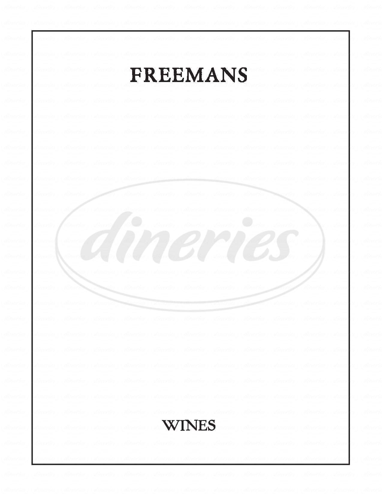 menu for Freemans Restaurant