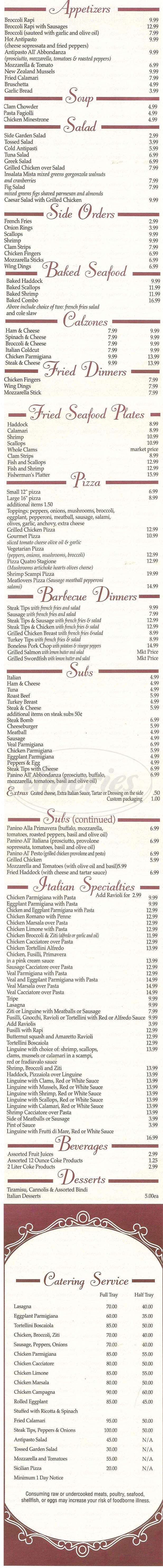 menu for Abbondanza Ristorante