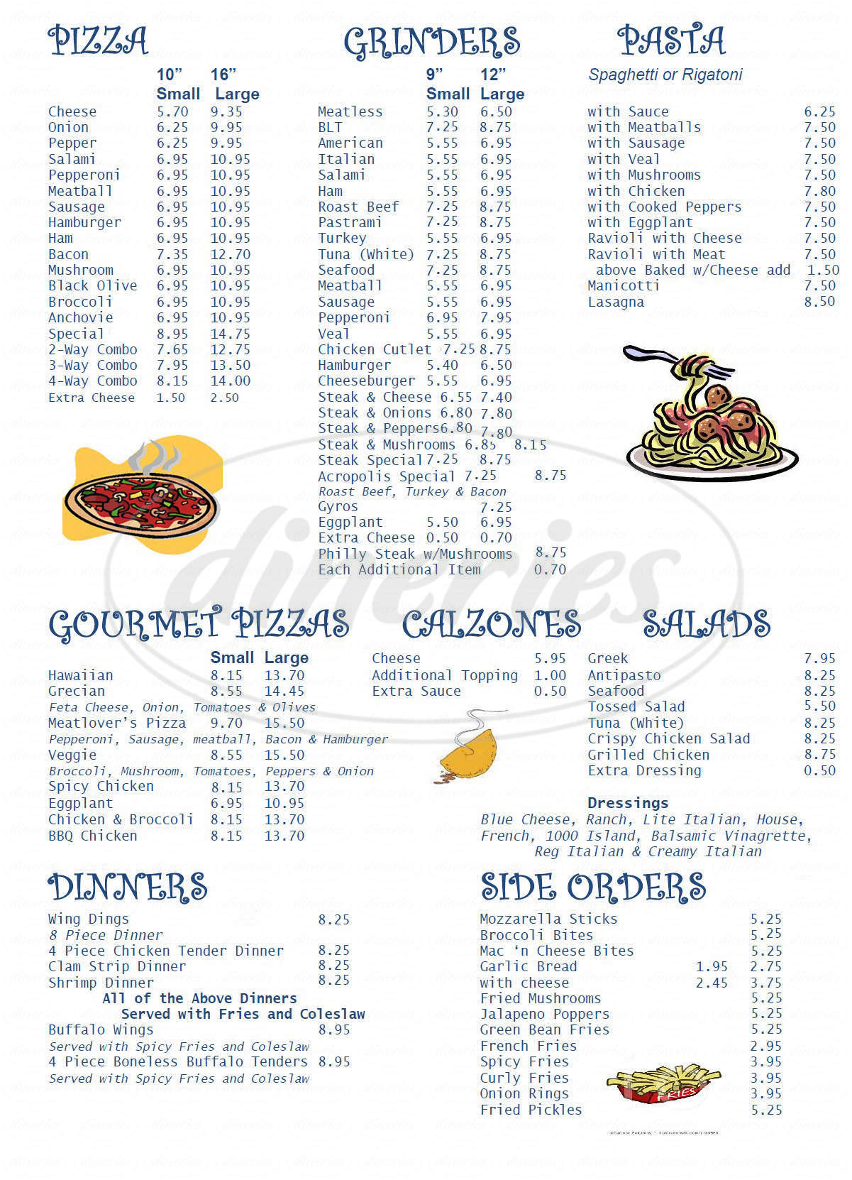 menu for Acropolis Pizza