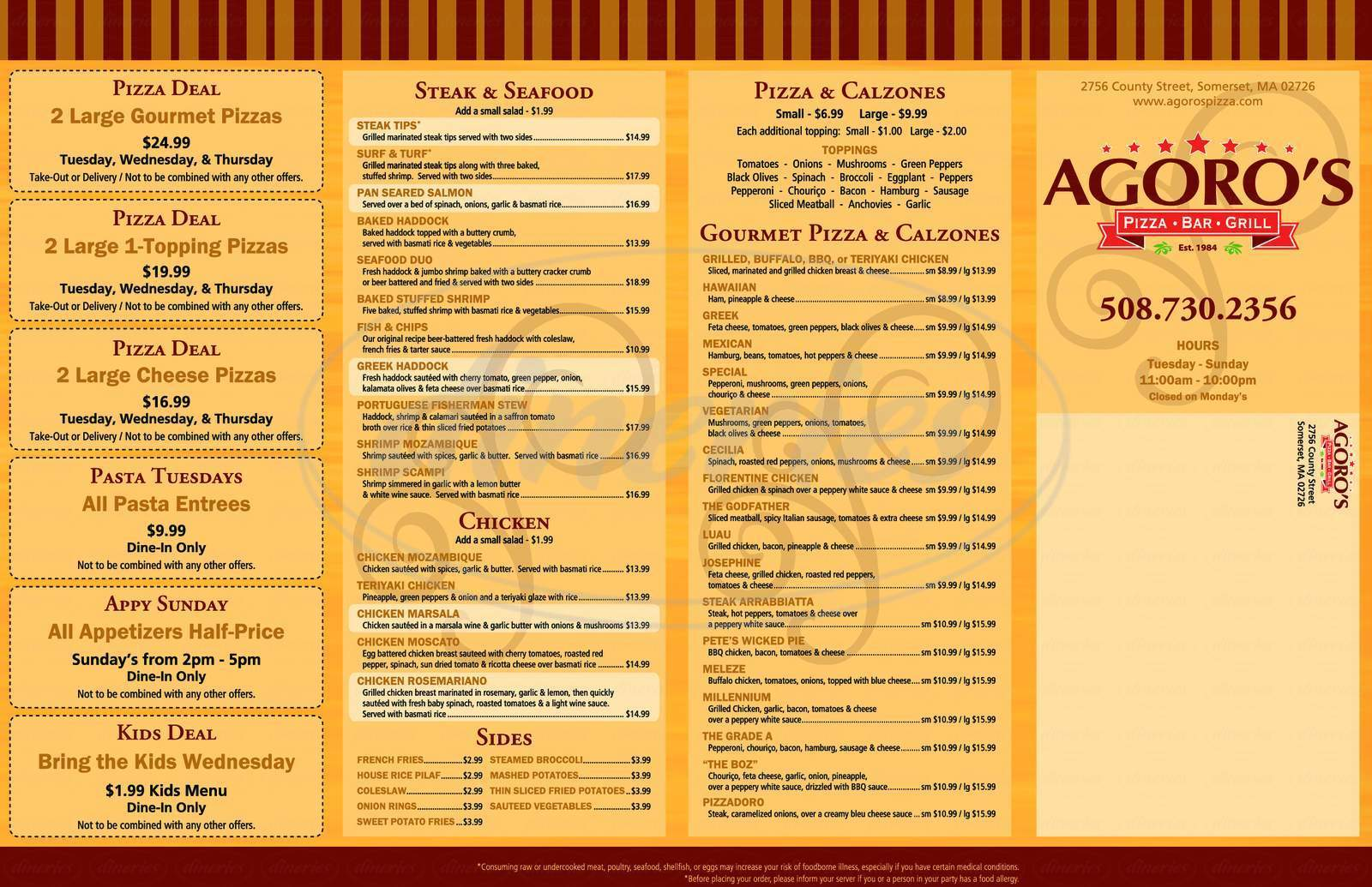 menu for Agoro's Pizza Bar & Grill