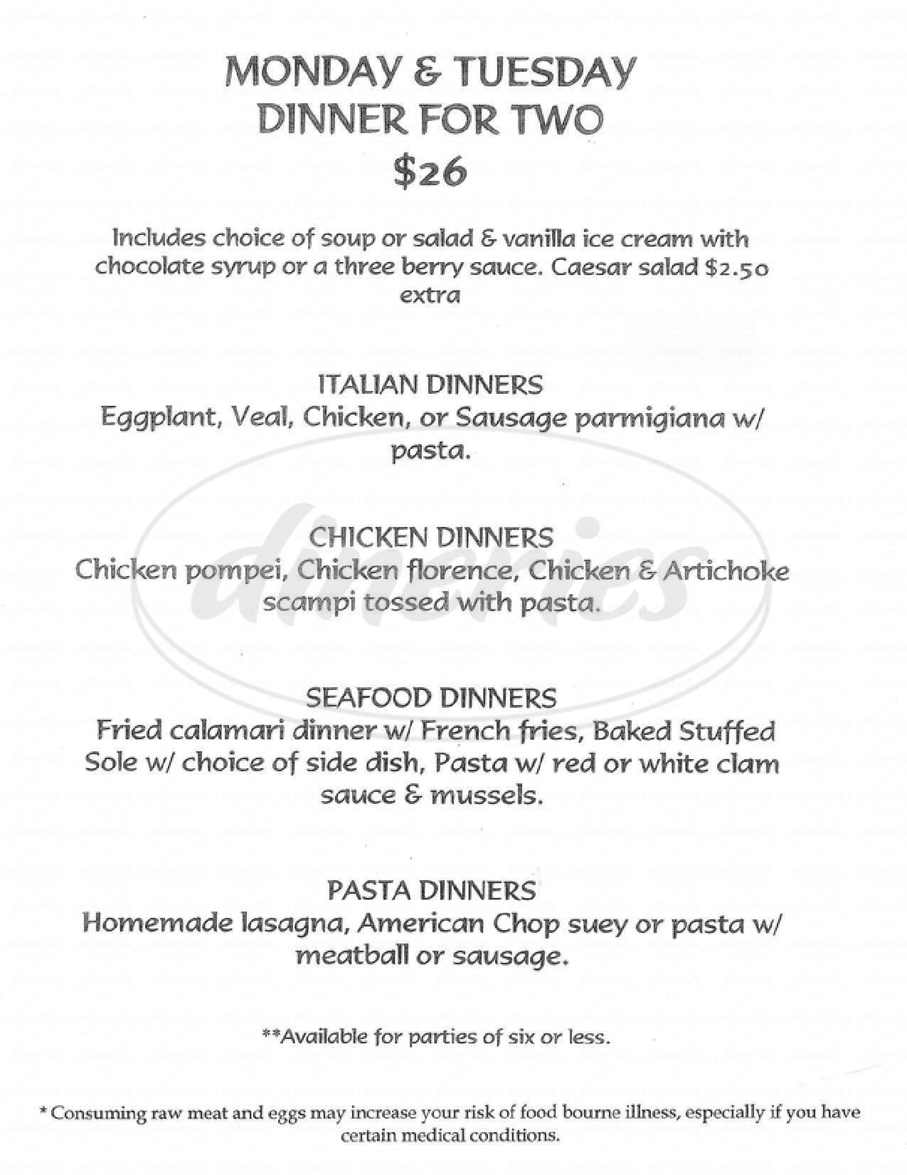 menu for A J Tomaiolos Restaurant