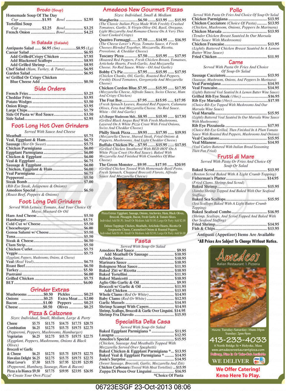 menu for Amedeo's Restaurant & Pizzeria