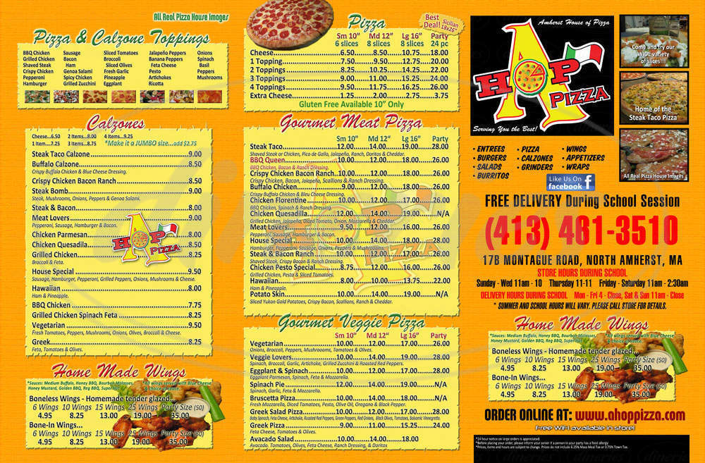 menu for Amherst House of Pizza