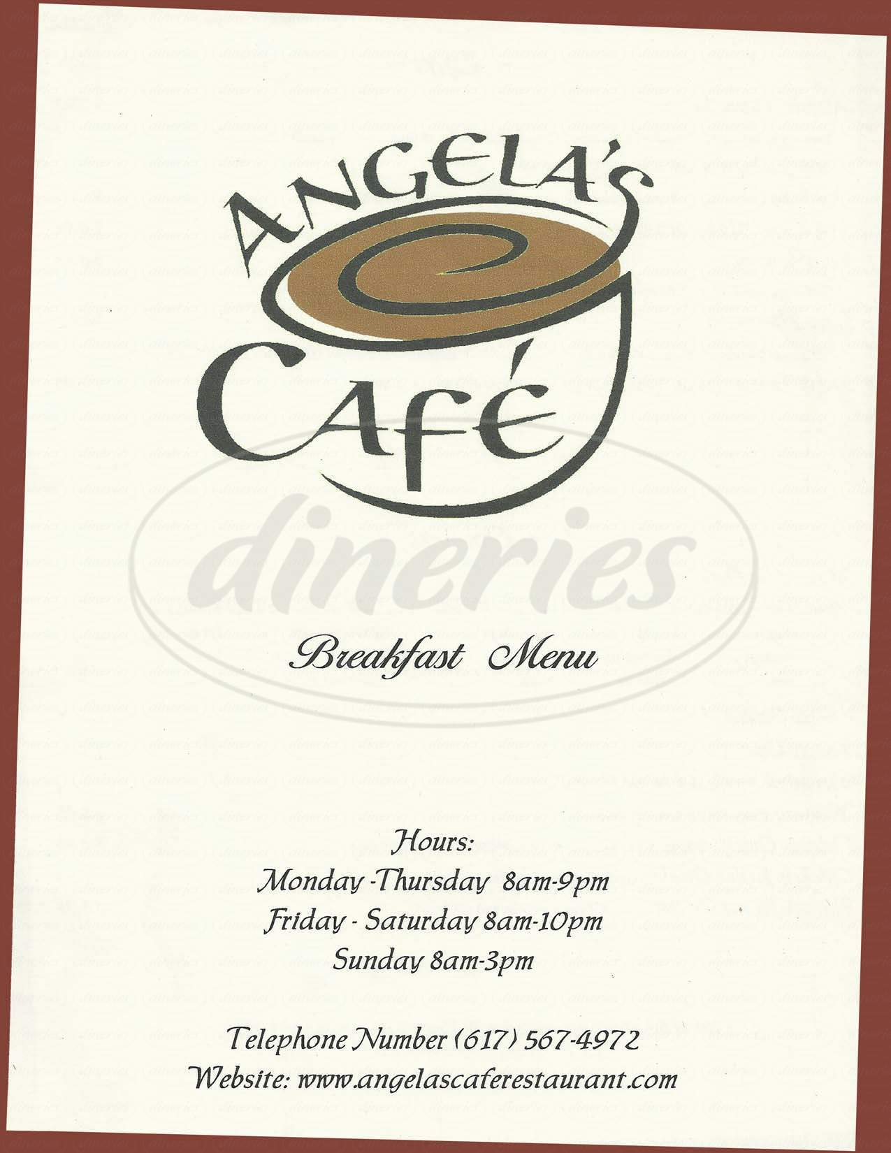 menu for Angela's Cafe