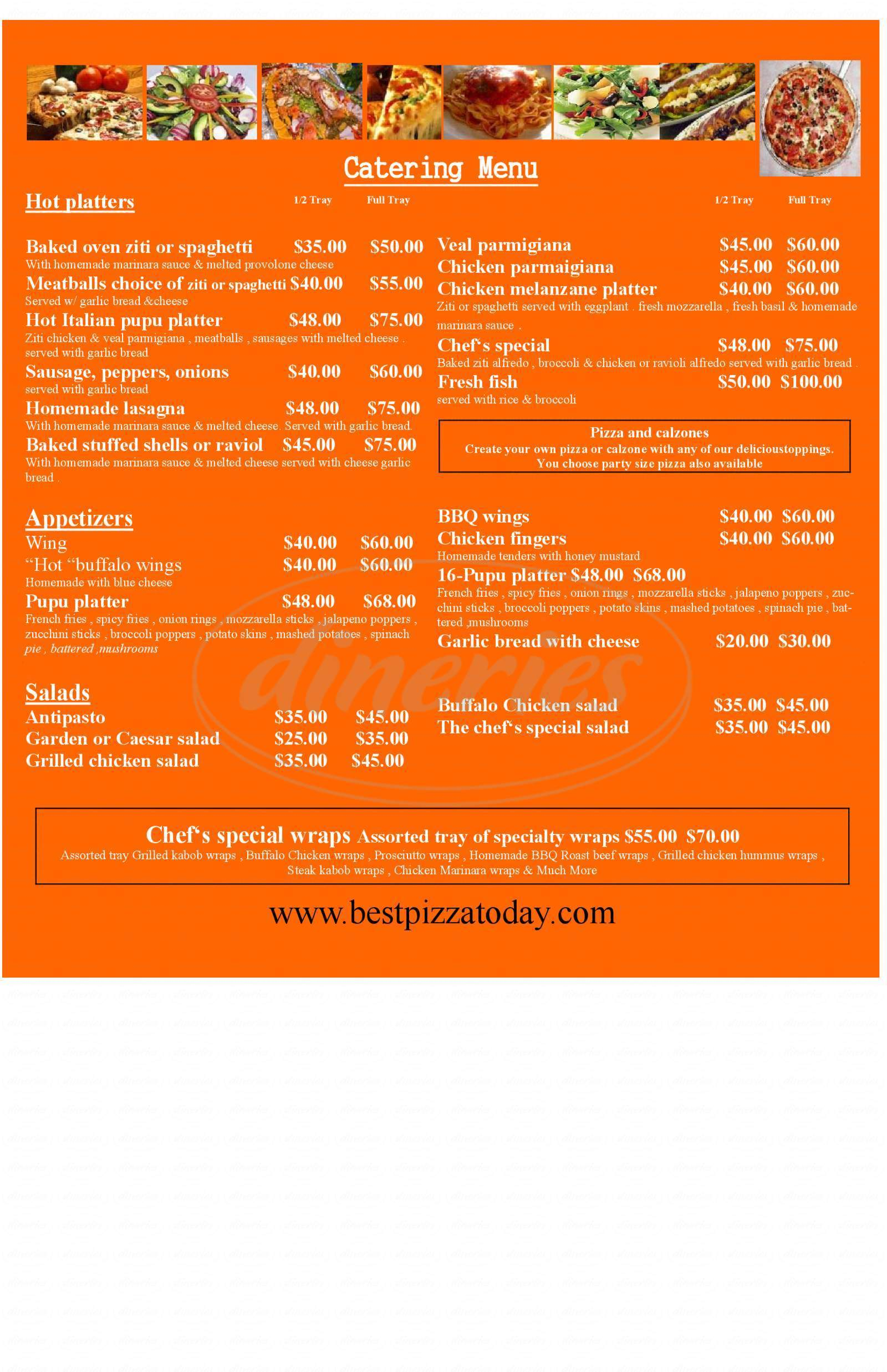 menu for Bella Piazza Cafe