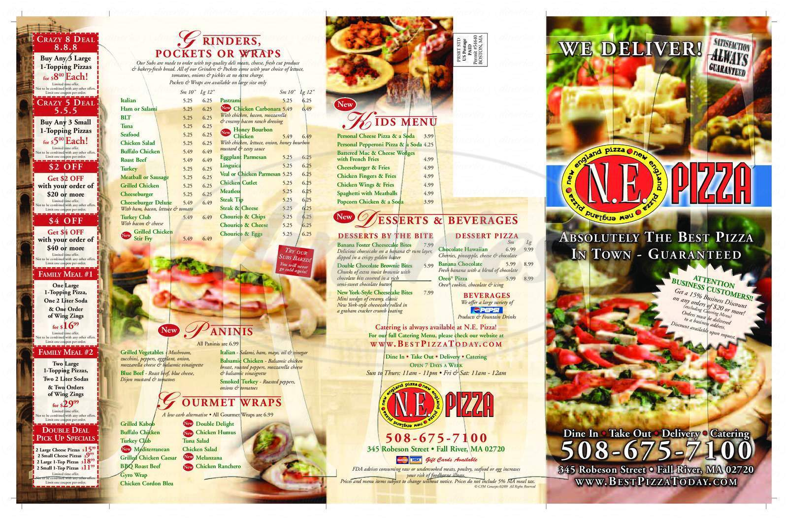 menu for New England Pizza