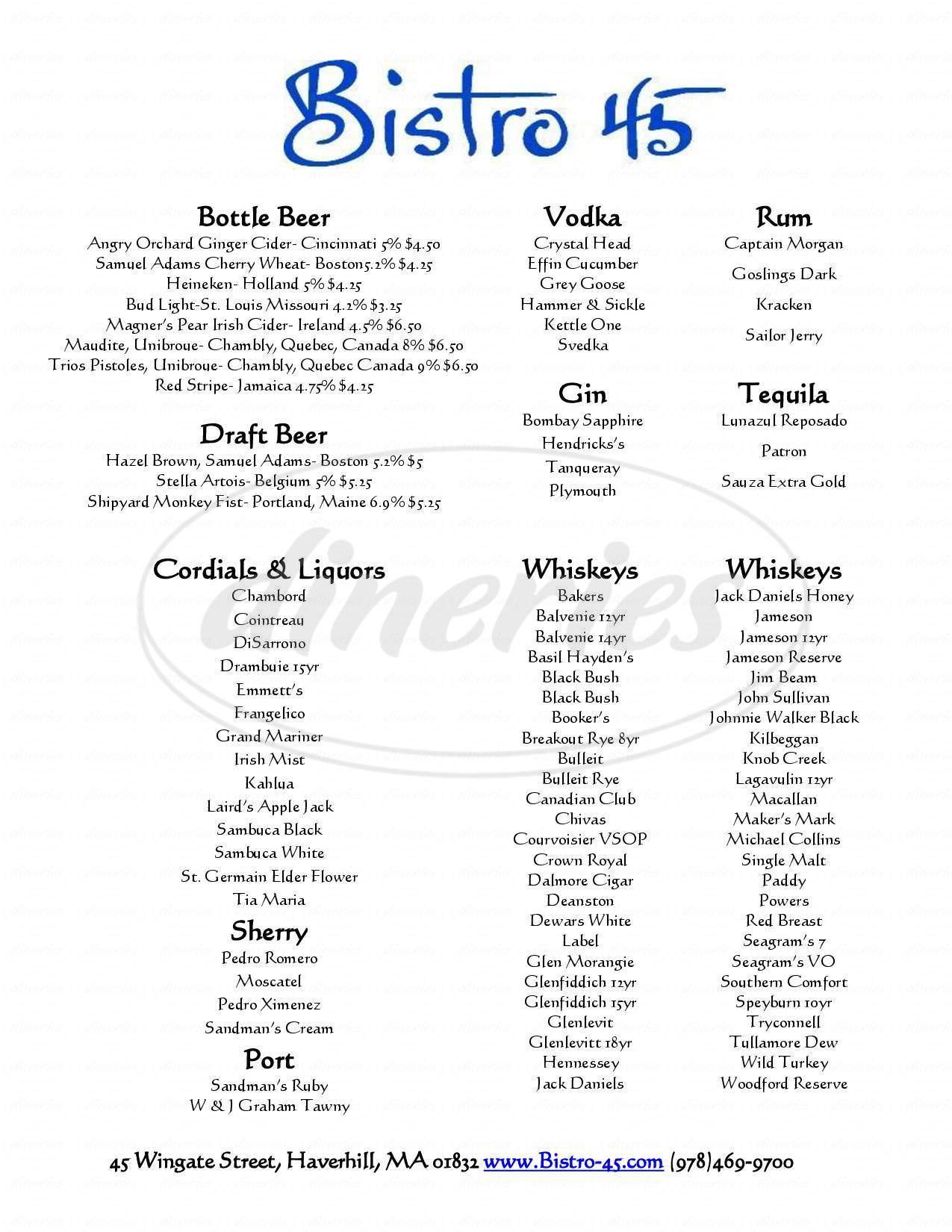 menu for Bistro 45