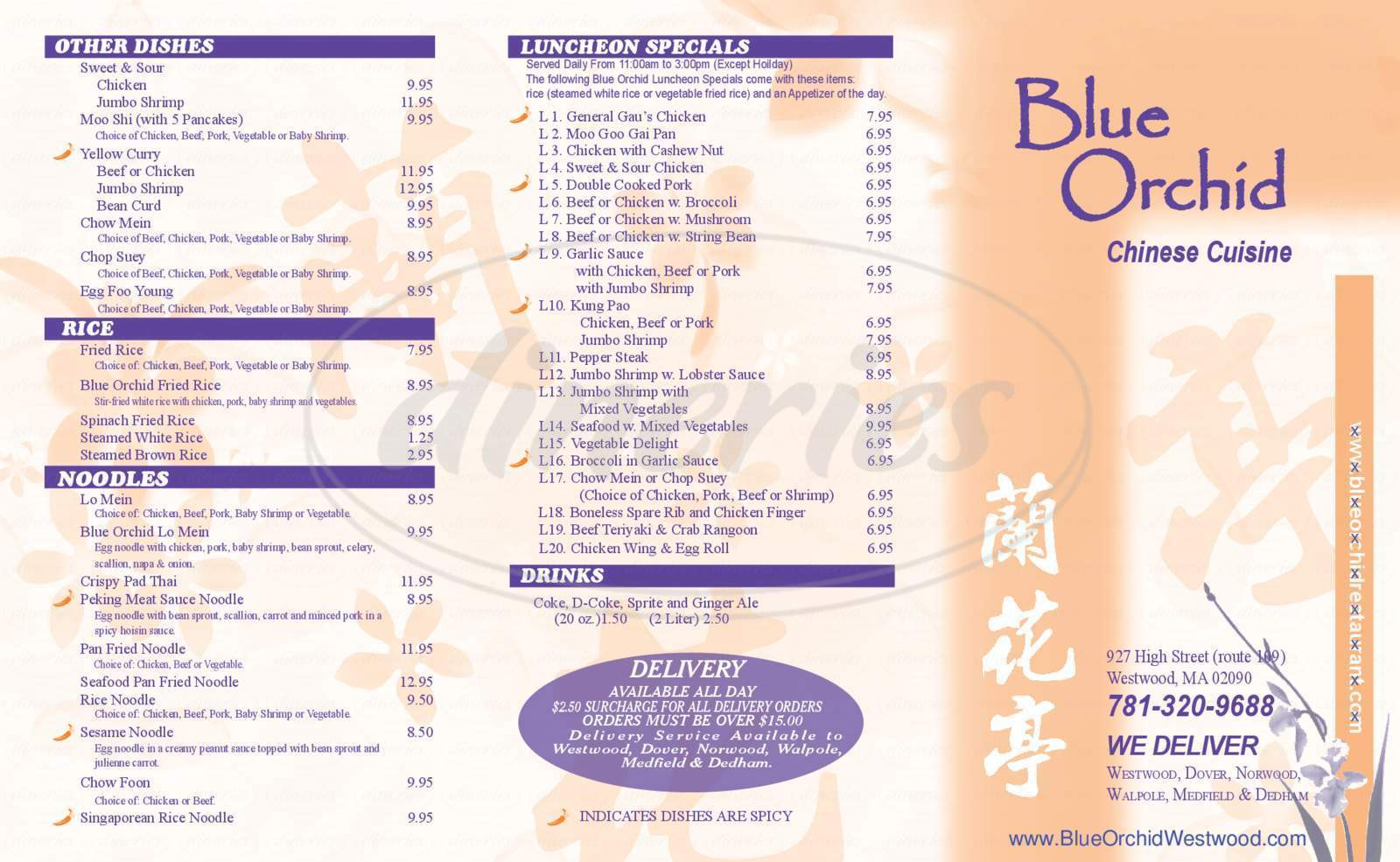 menu for Blue Orchid