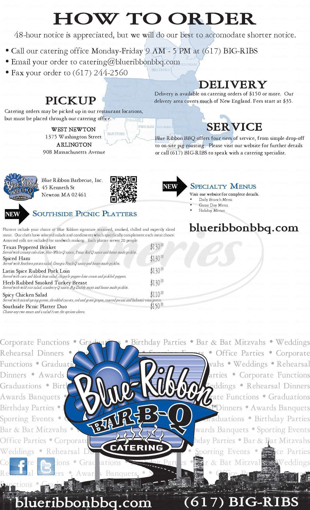 menu for Blue Ribbon Catering