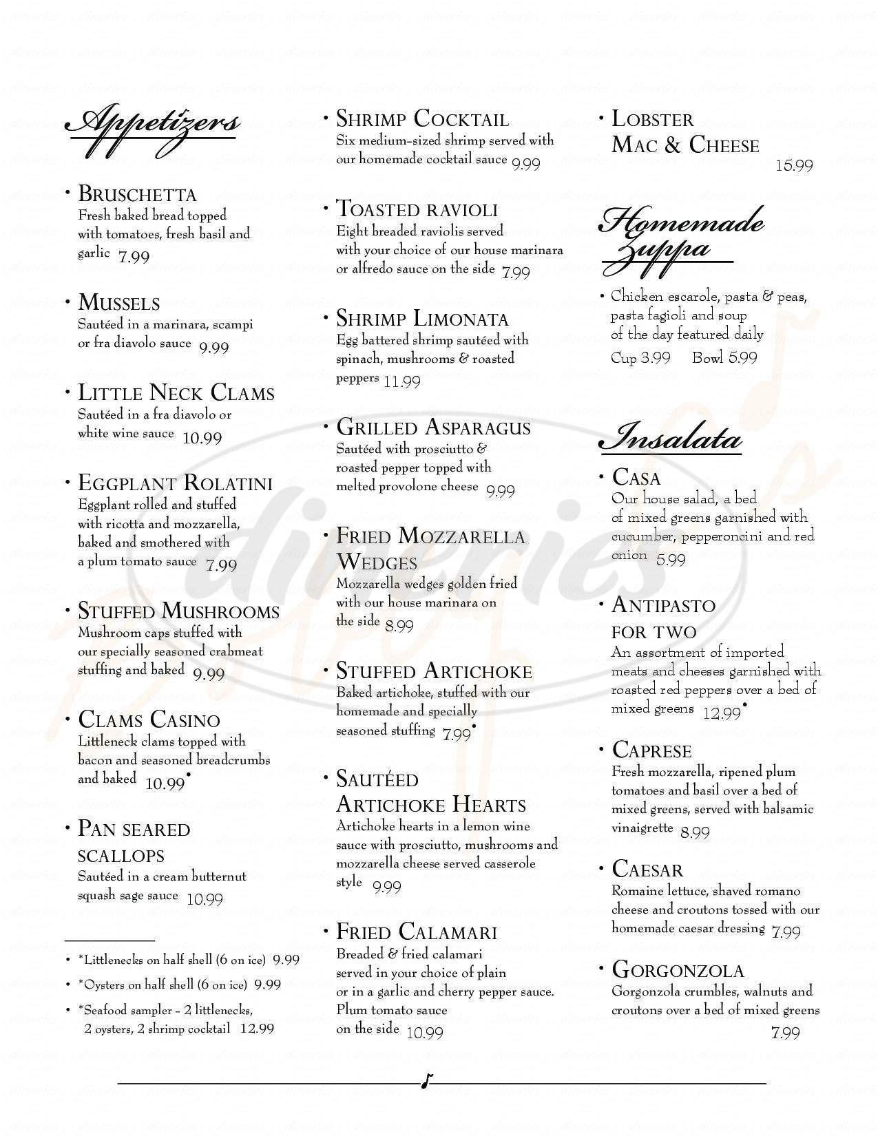 menu for Bobby C's Ristorante