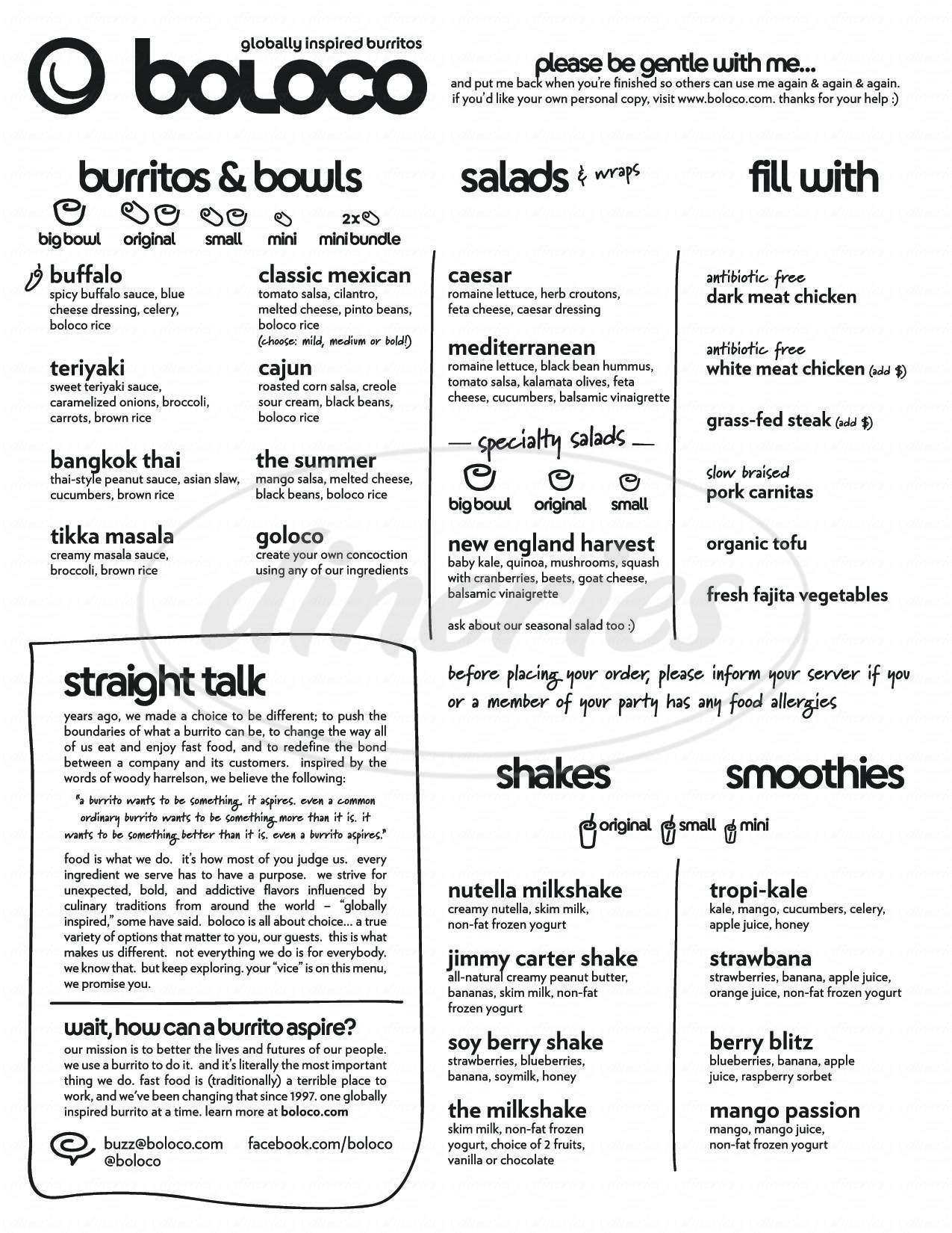 Big menu for Boloco, Wellesley