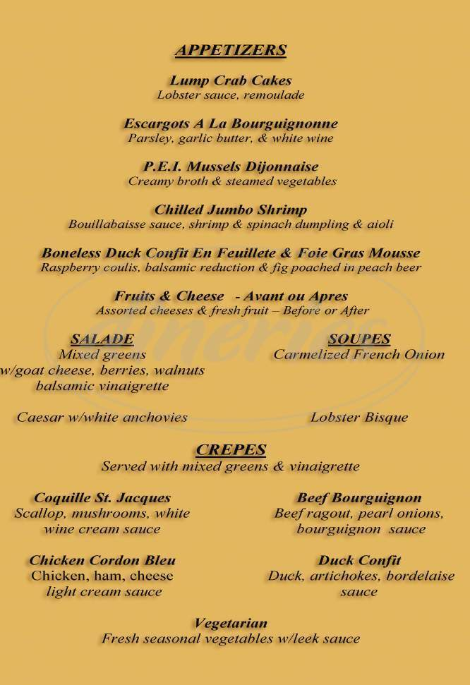 menu for Bon Appetit South