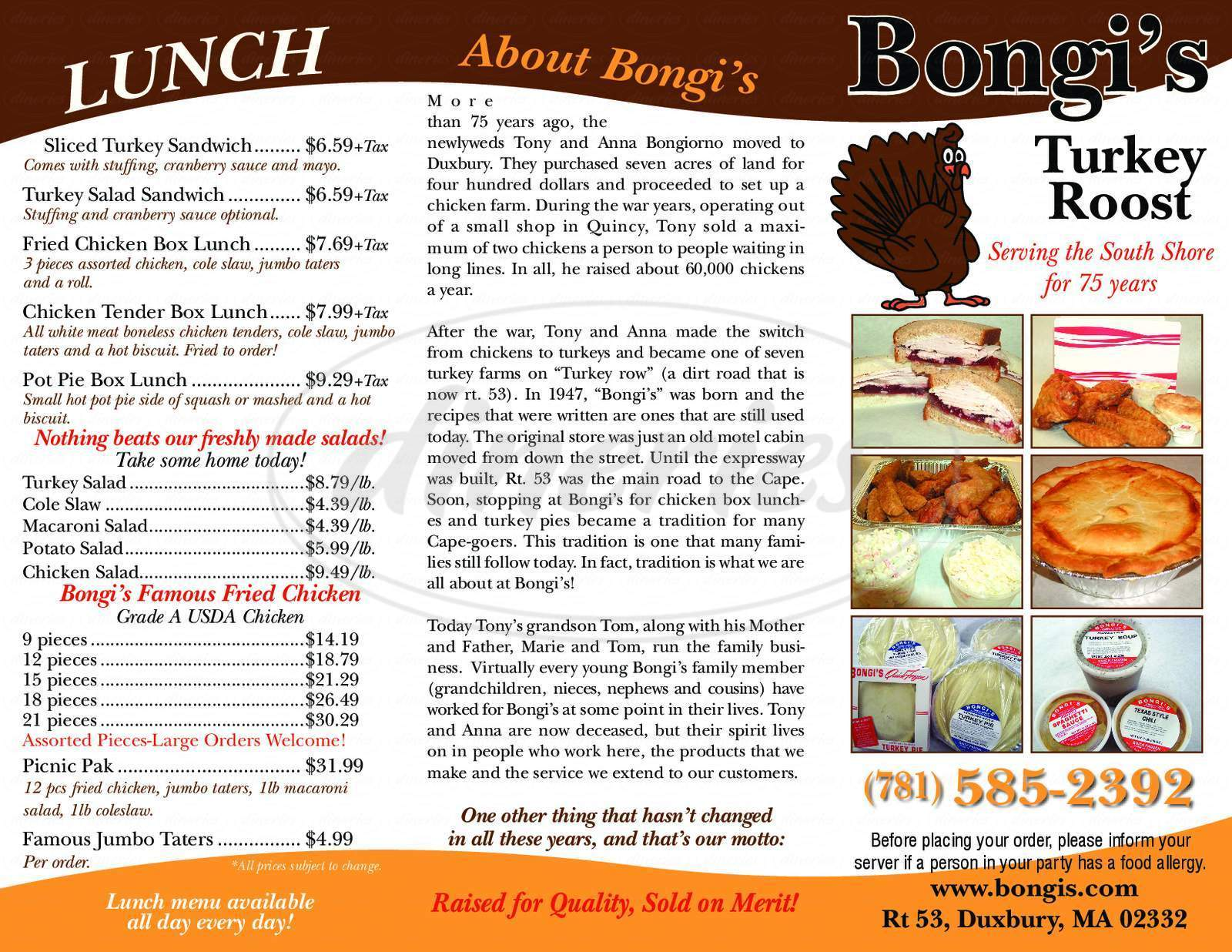 menu for Bongi's Turkey Roost
