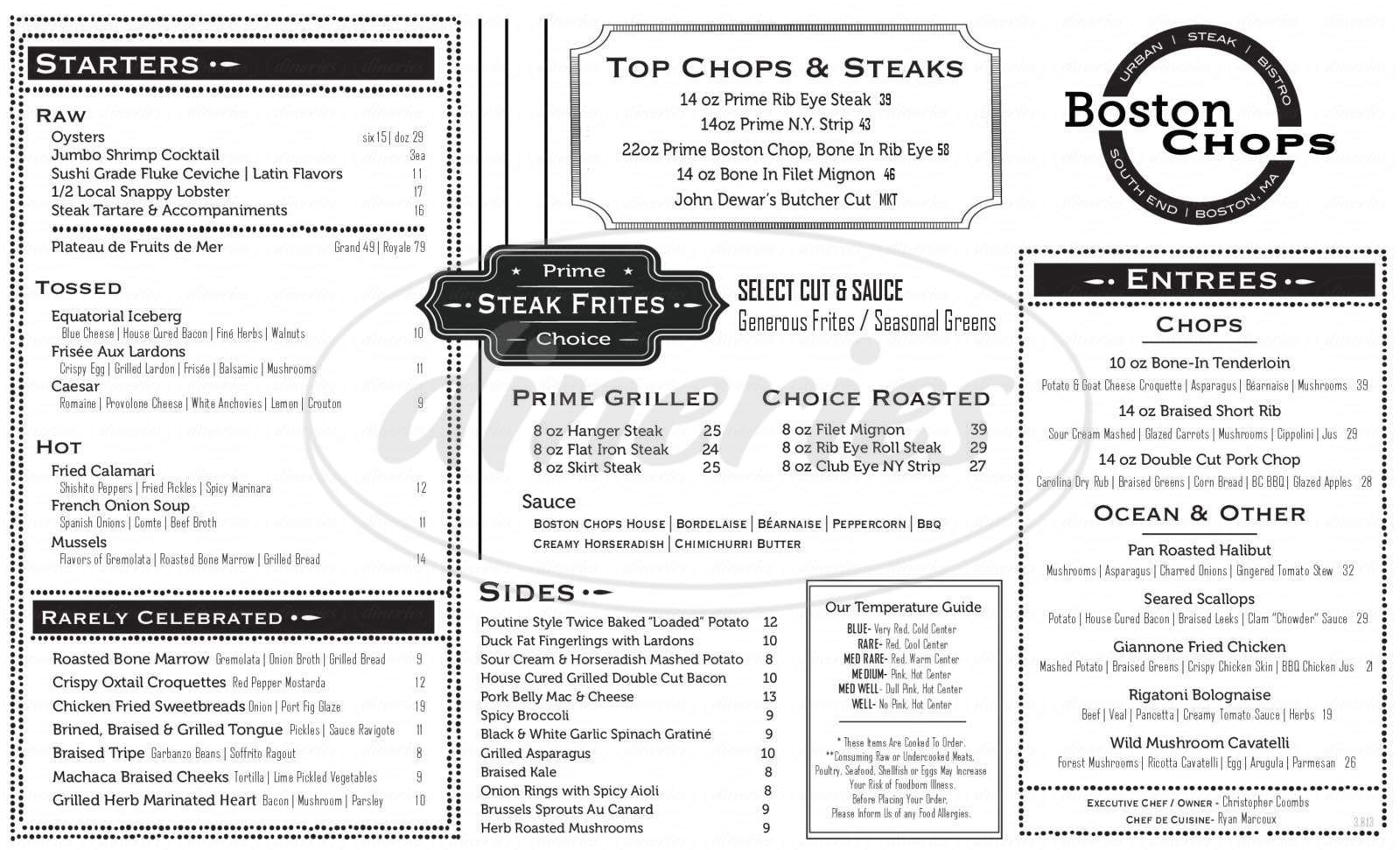 menu for Boston Chops