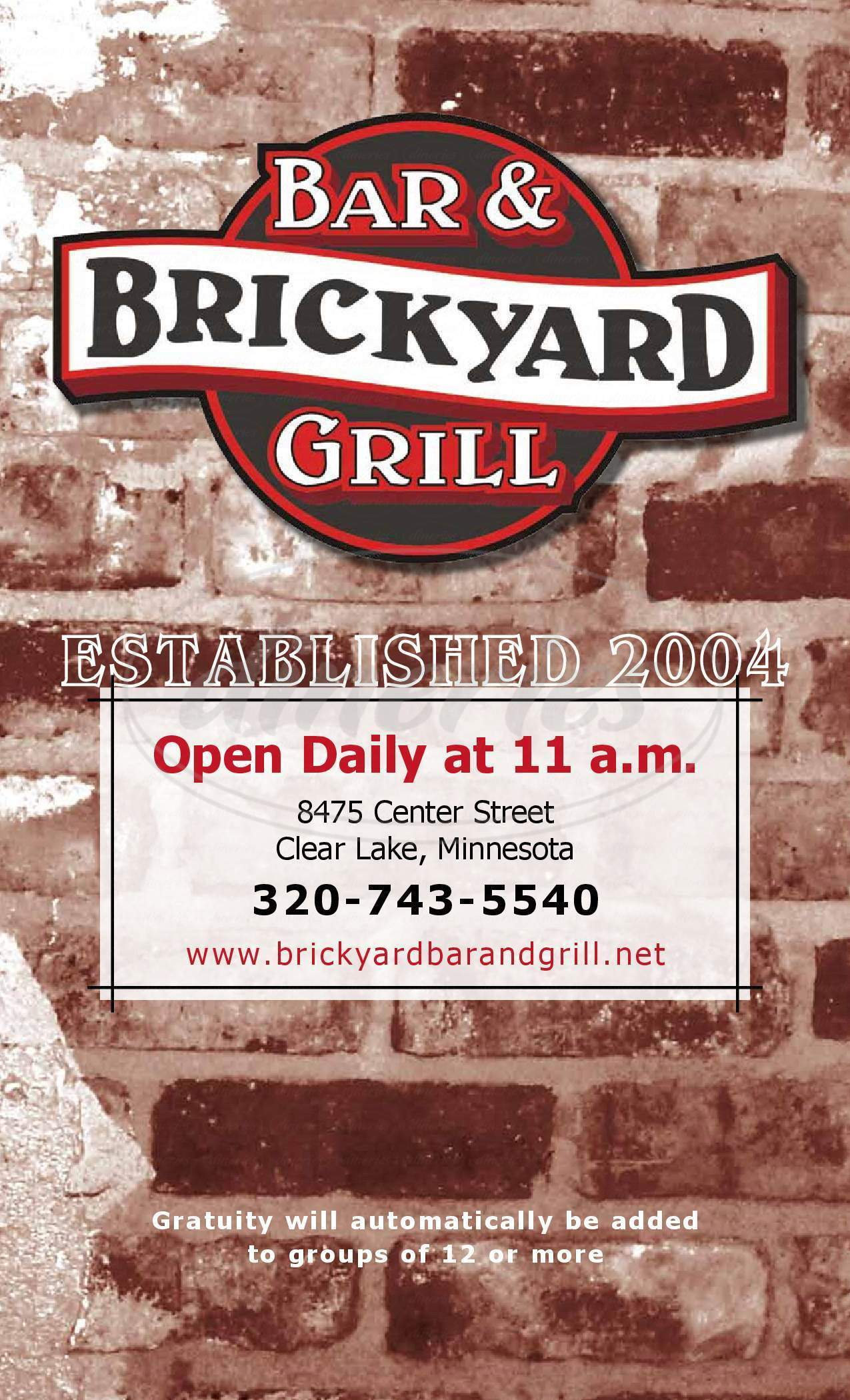 menu for Brick Yard Bar & Grill