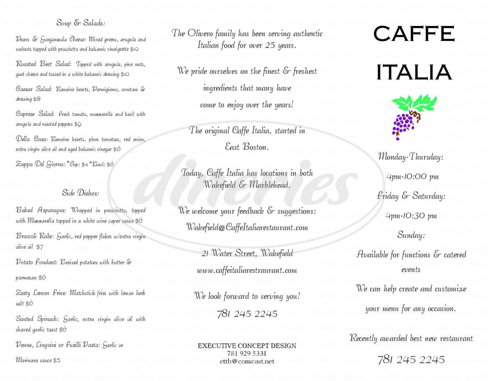 menu for Caffe Italia