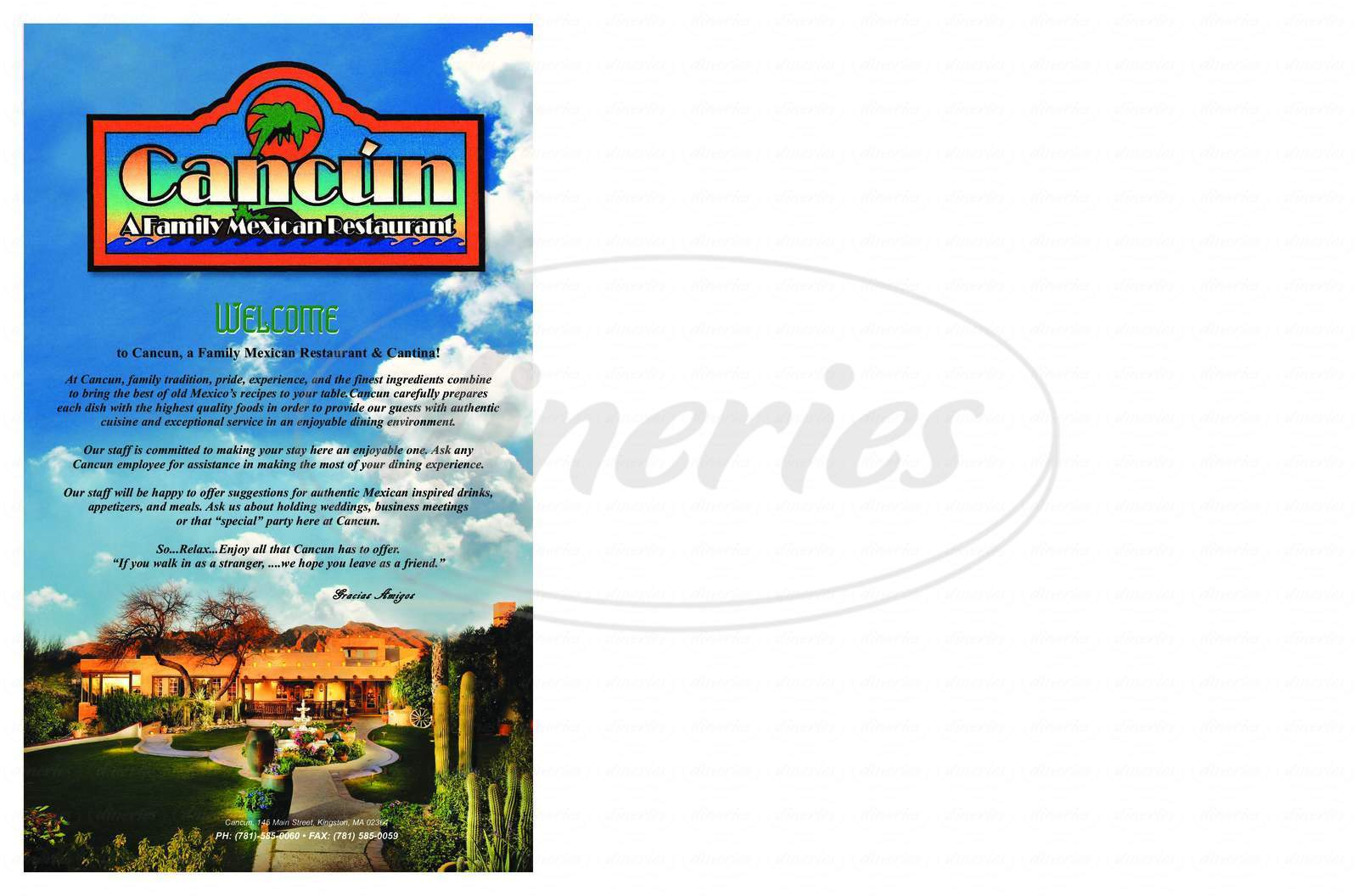 menu for Cancun Family Restaurant