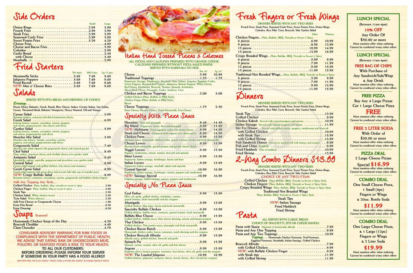 menu for Central Street Pizzeria & Grille