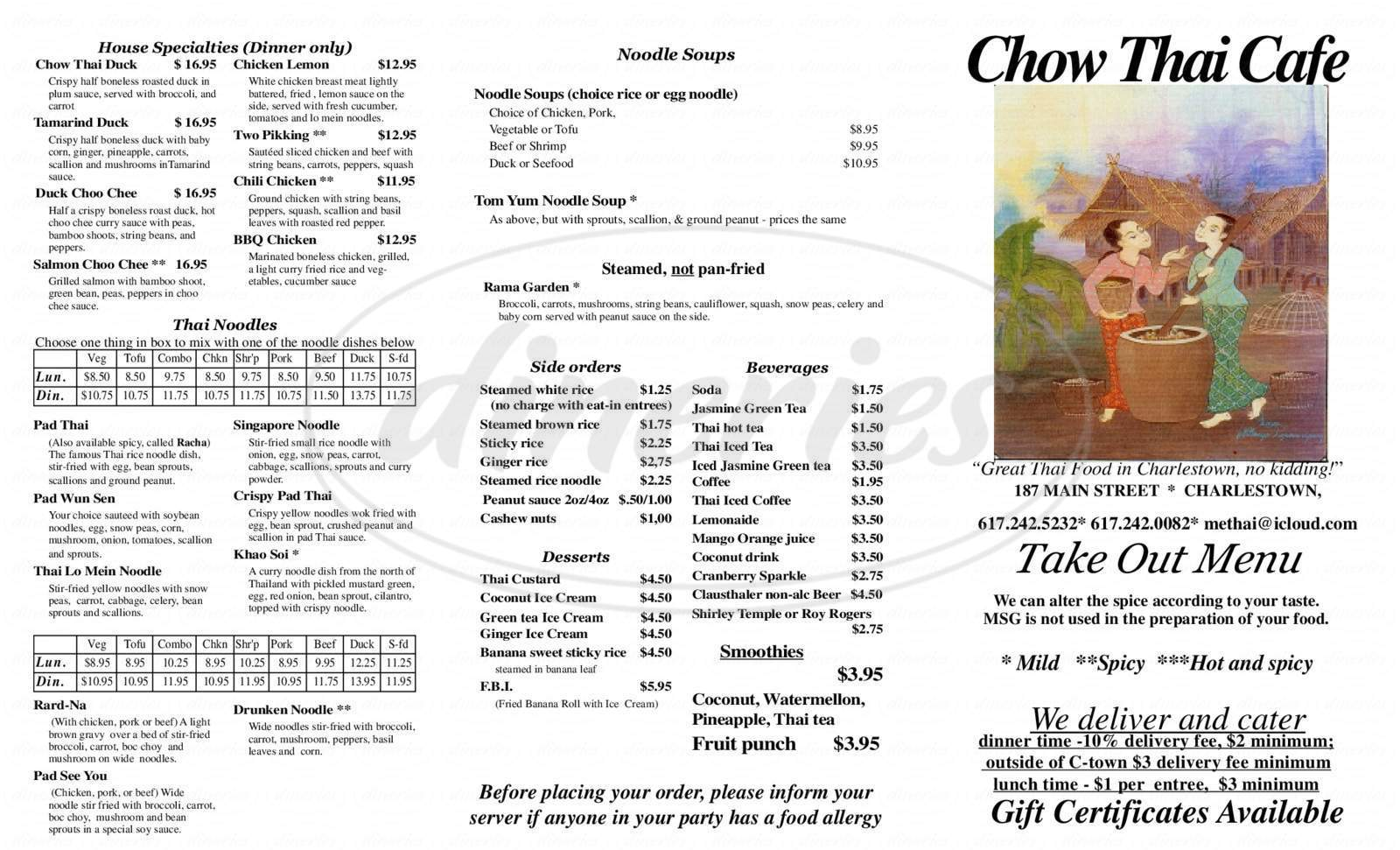 menu for Chow Thai Cafe
