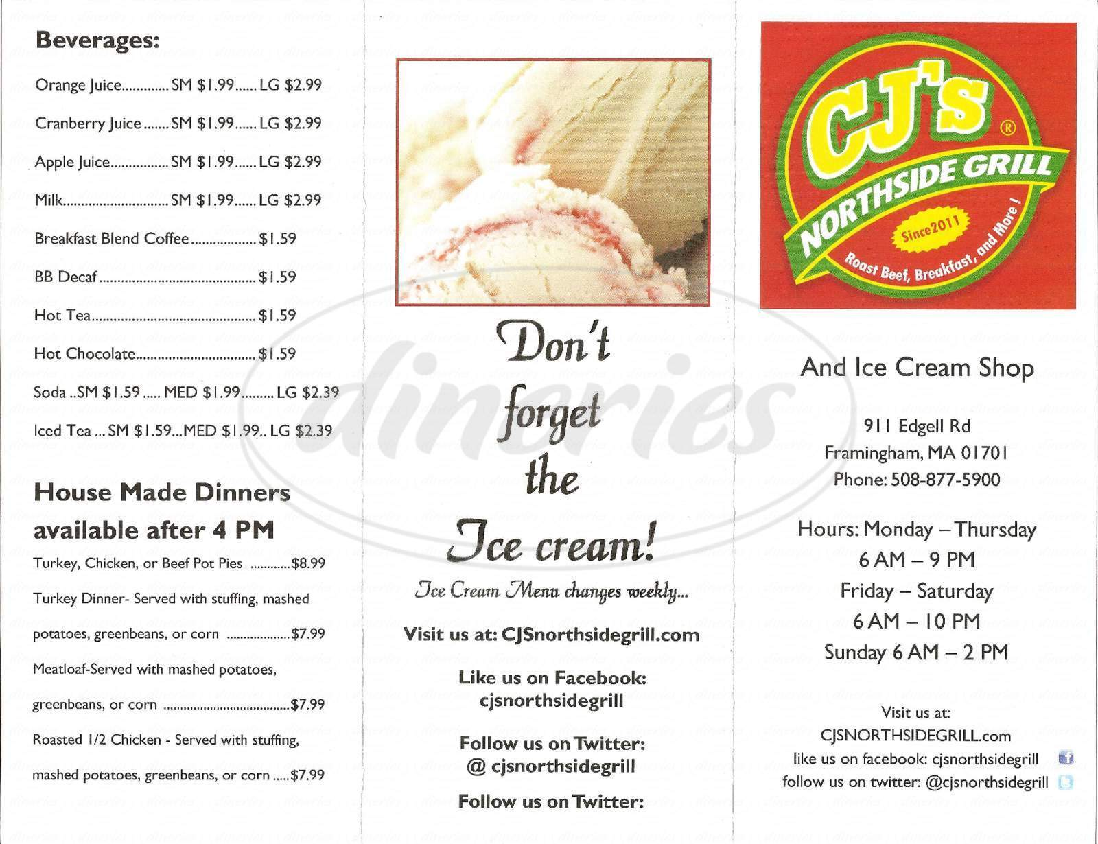 menu for Cjs Northside Grill