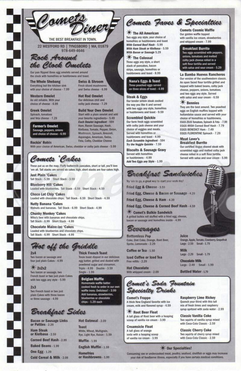 menu for Comets Diner