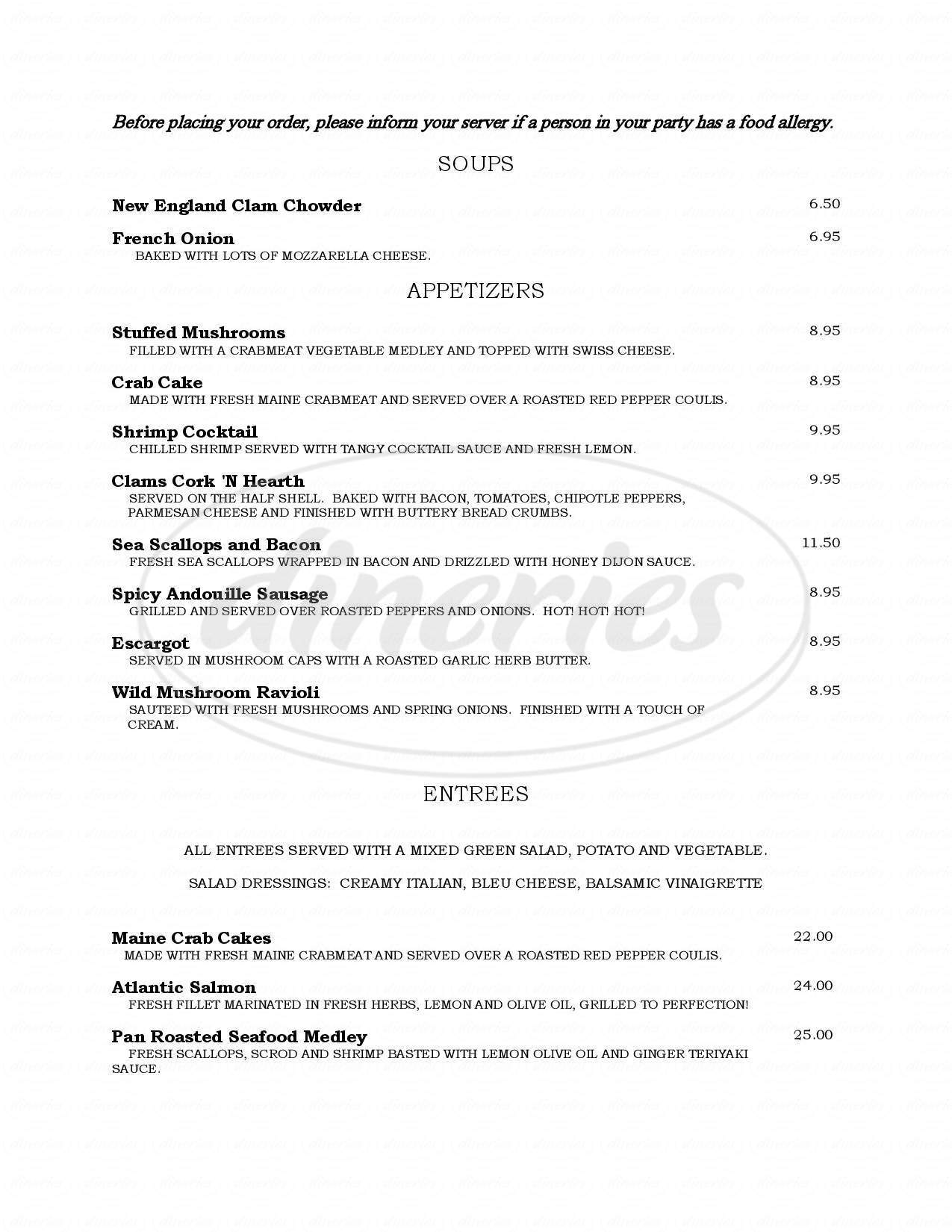 menu for Cork N' Hearth