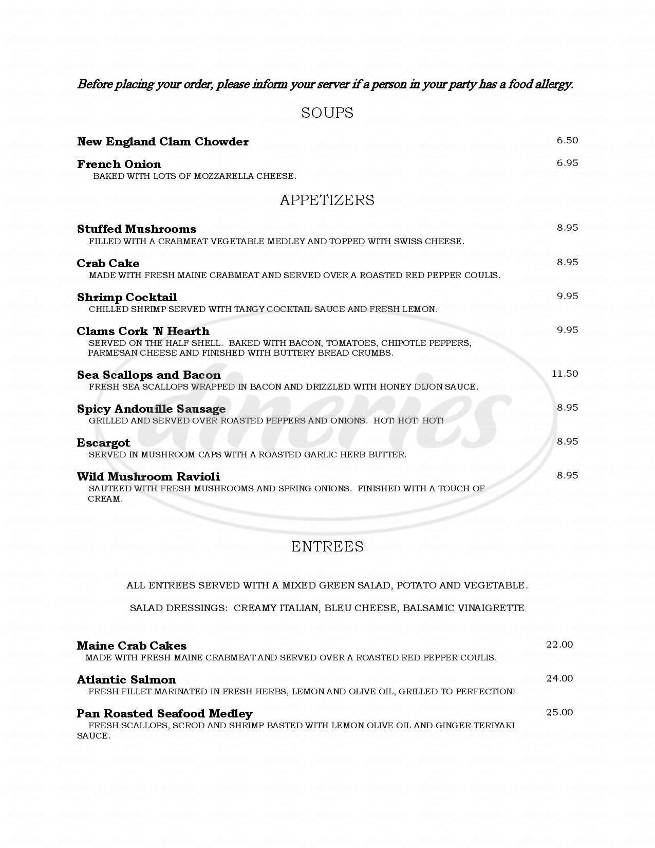 menu for Cork N' Hearth