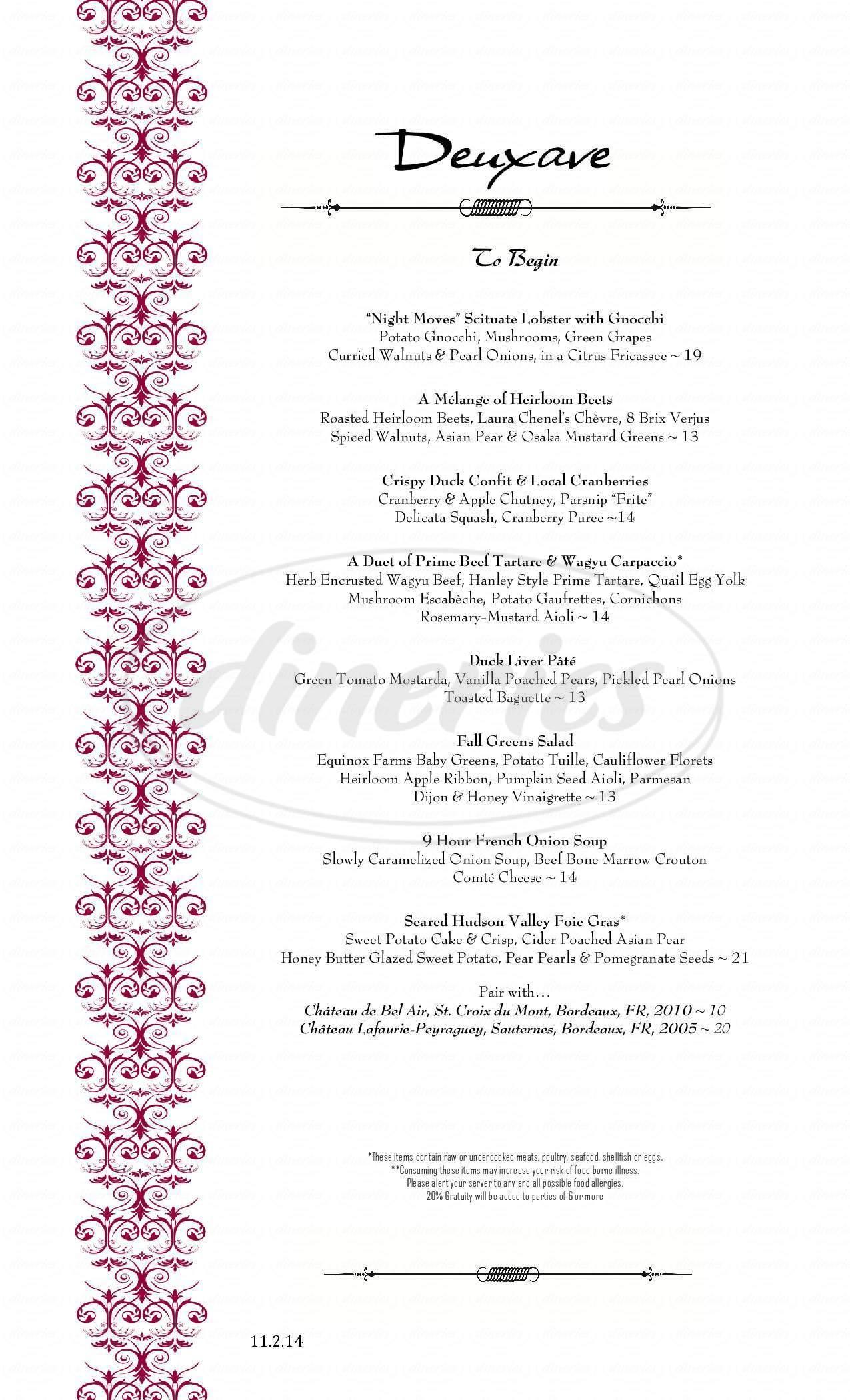 menu for Deuxave