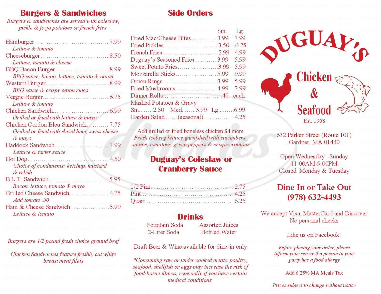 menu for Duguays Fried Chicken & Seafood