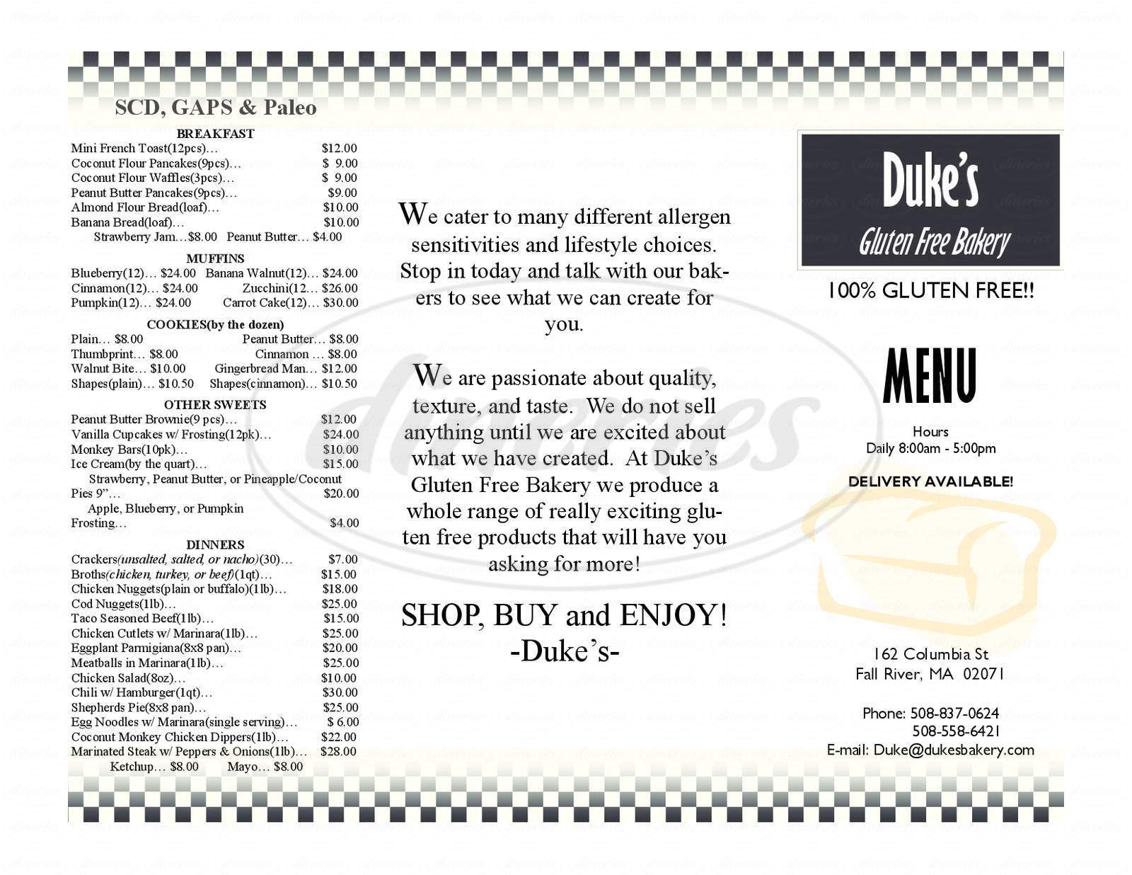 menu for Duke's Bakery and Variety