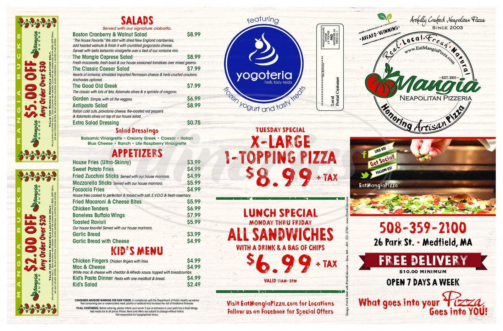 menu for Mangia