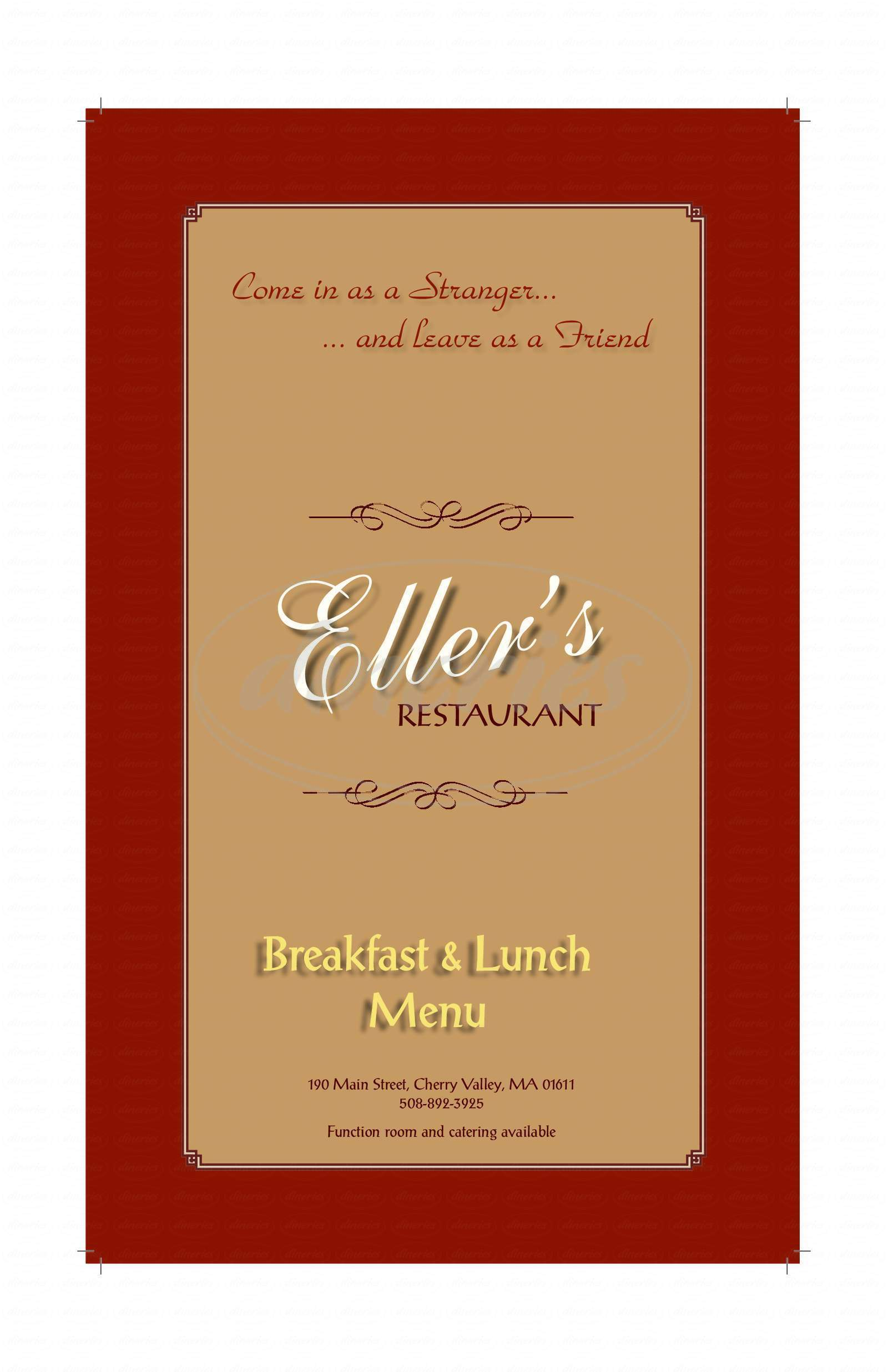 menu for Eller's Restaurant