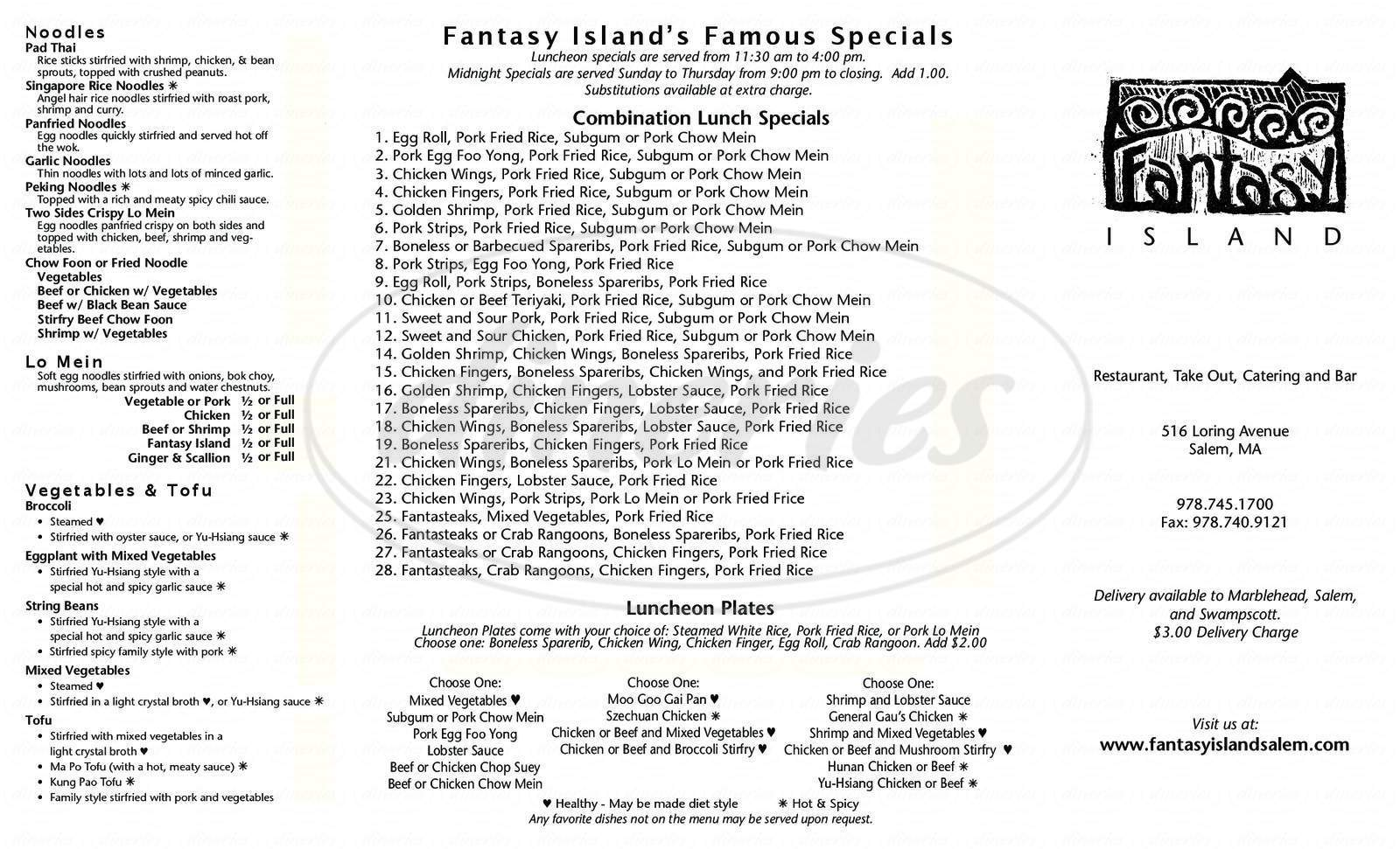menu for Fantasy Island