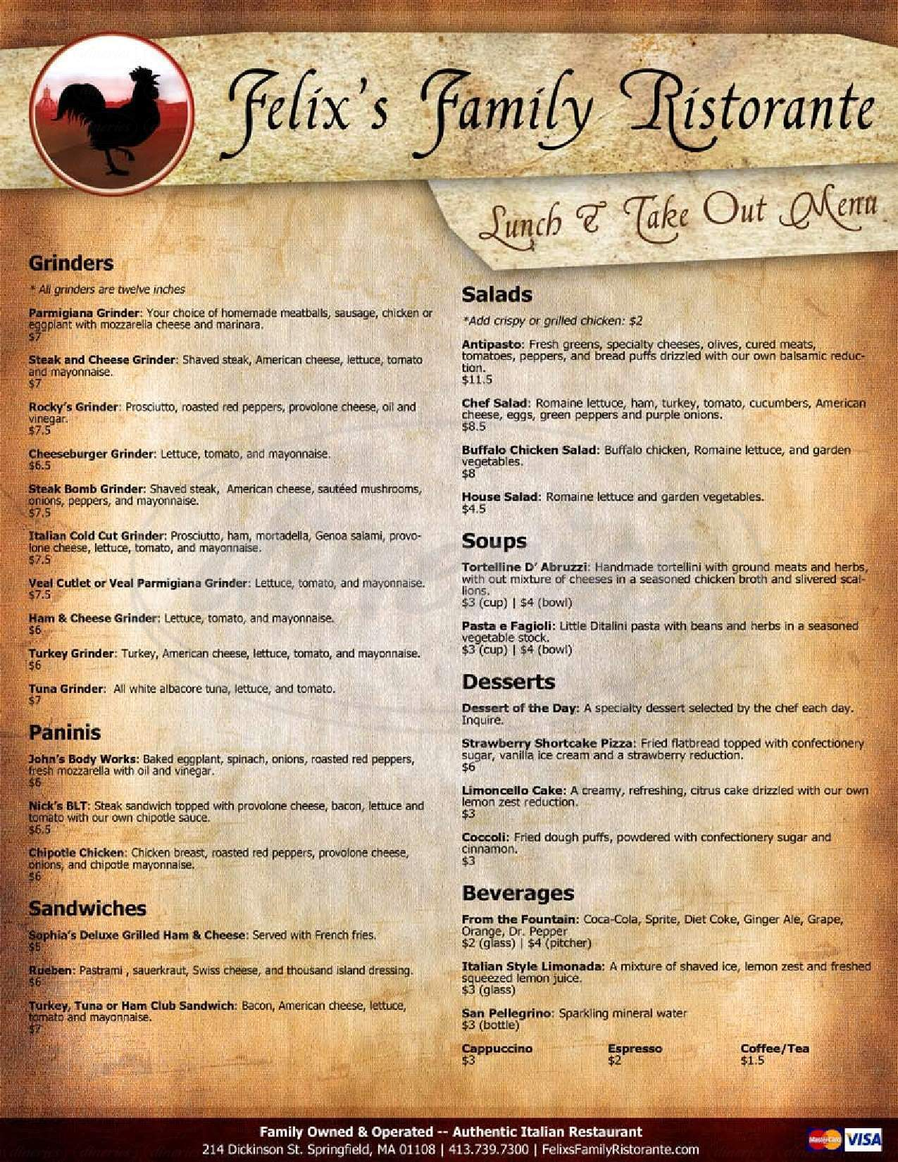 menu for Felix's Family Ristorante
