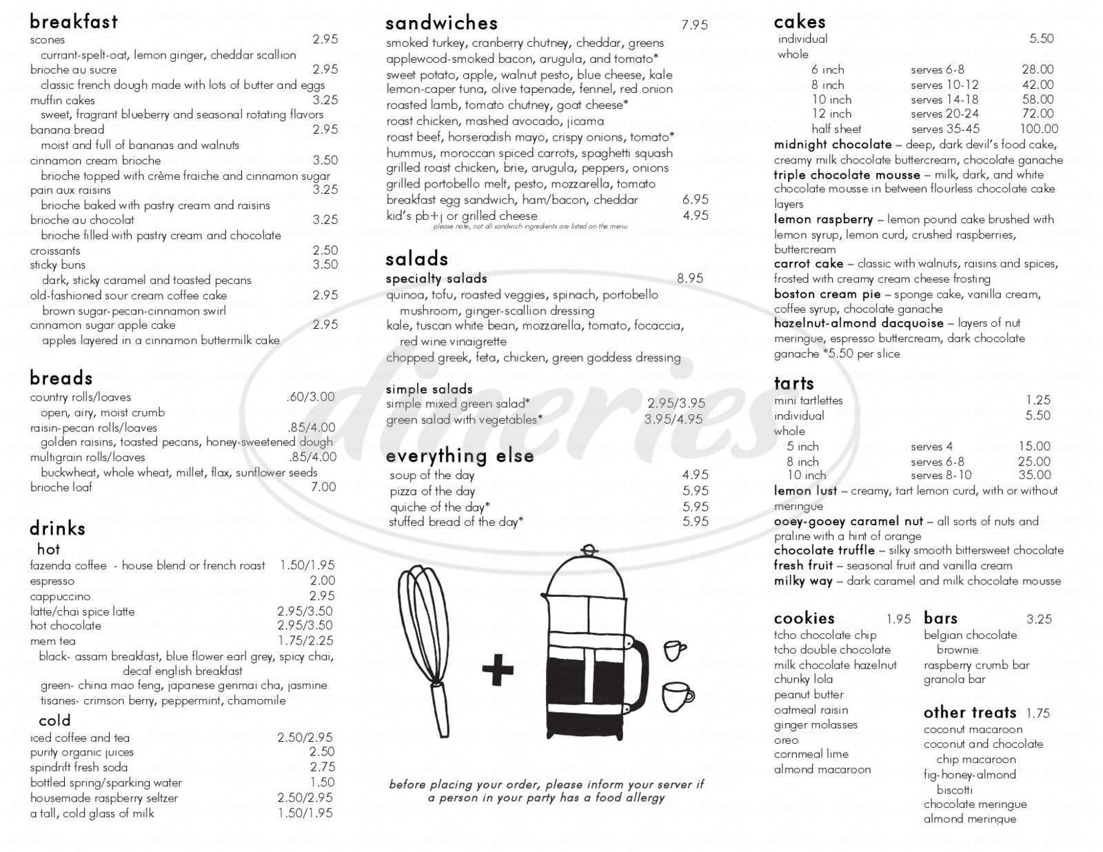 menu for Flour Bakery + Café