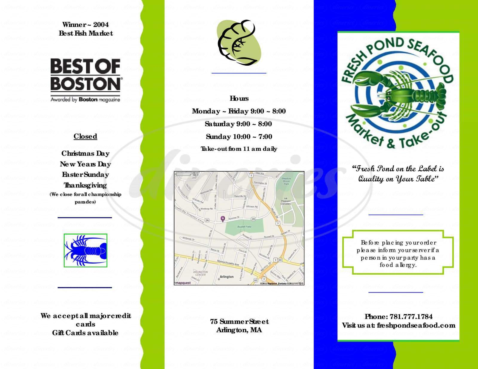 menu for Fresh Pond Seafood