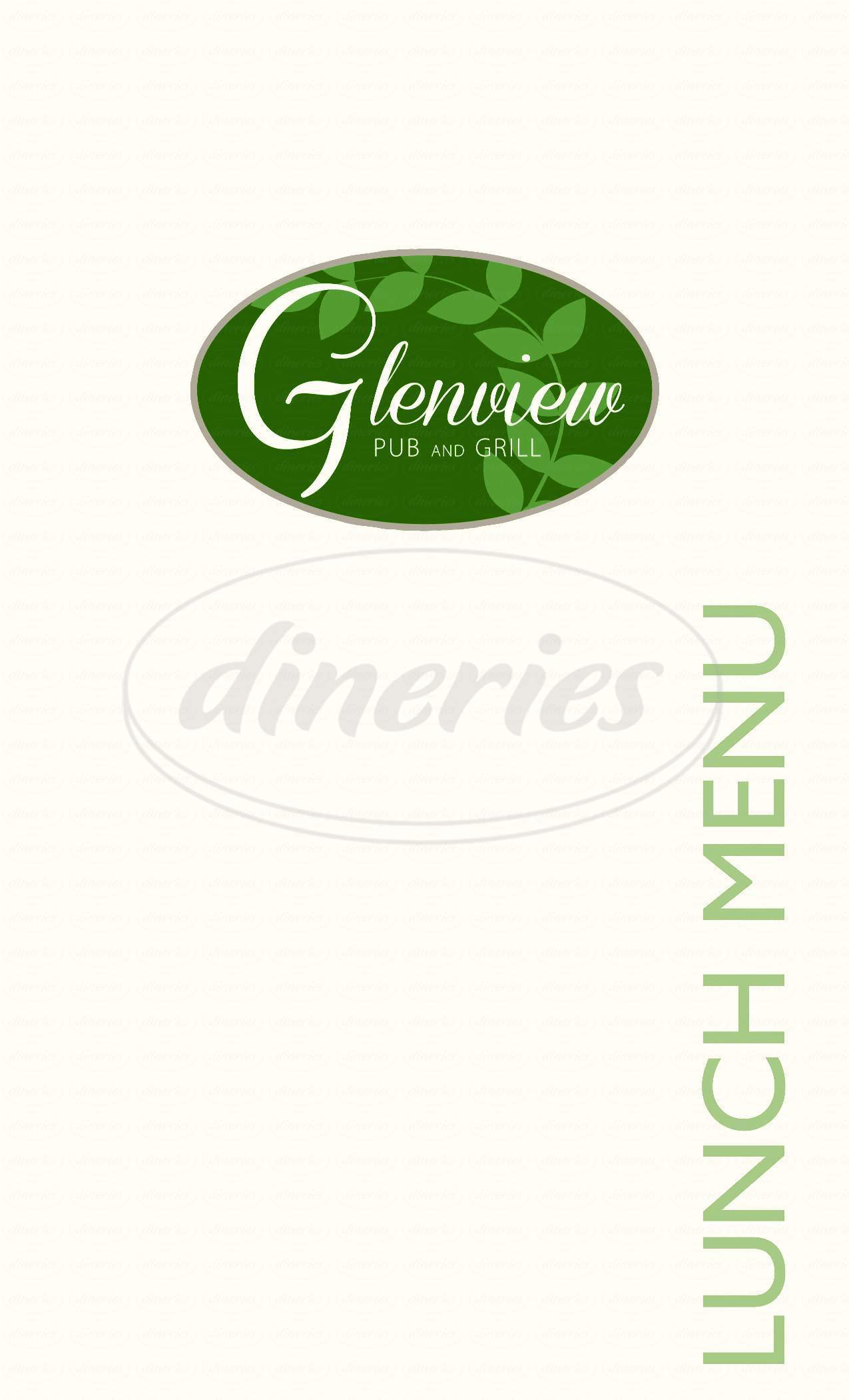 Big menu for Glenview Pub & Grill, North Chelmsford