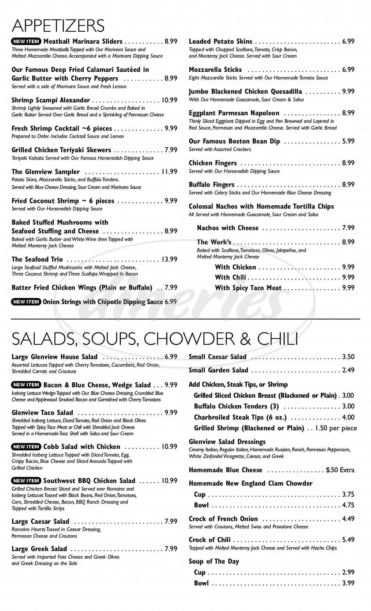 menu for Glenview Pub & Grill
