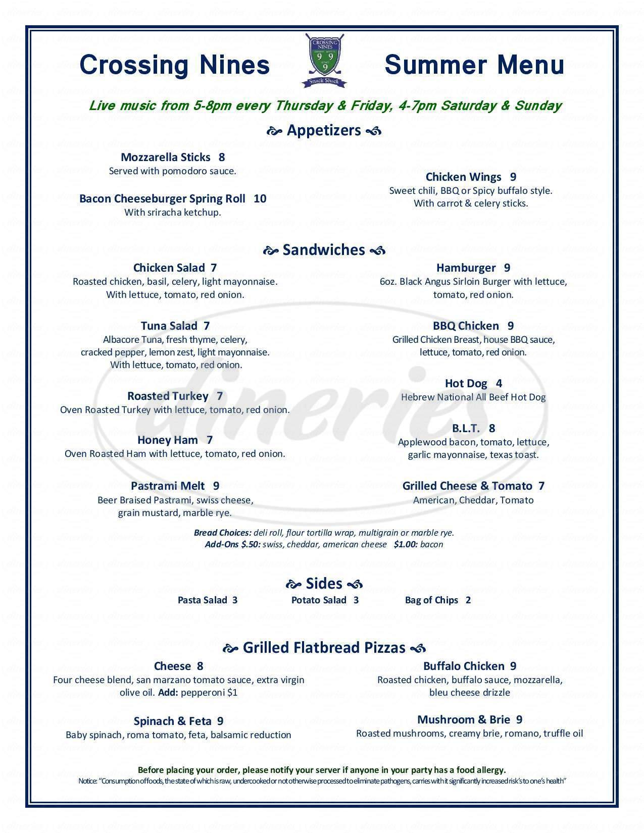 menu for The Tavern